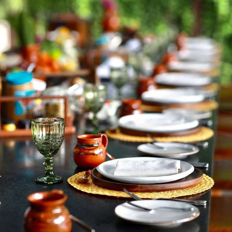 Table setting at an outdoor corporate event.