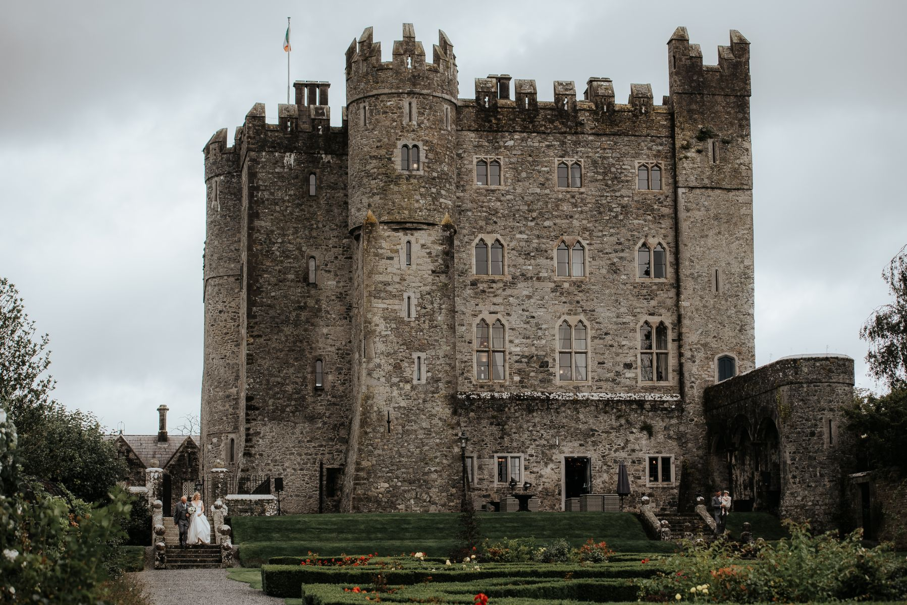 Castle in Ireland prior to hosting a wedding celebration.