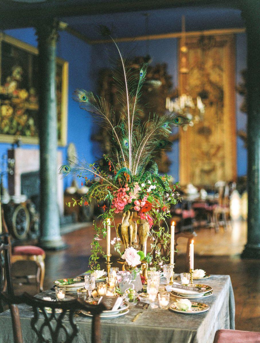 Floral arrangement in wedding suite.