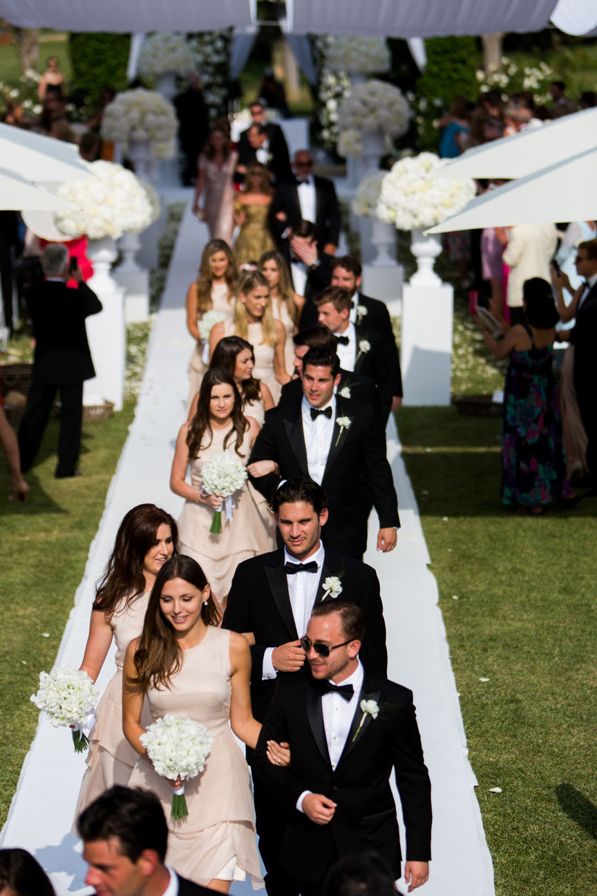 Wedding party exiting wedding.