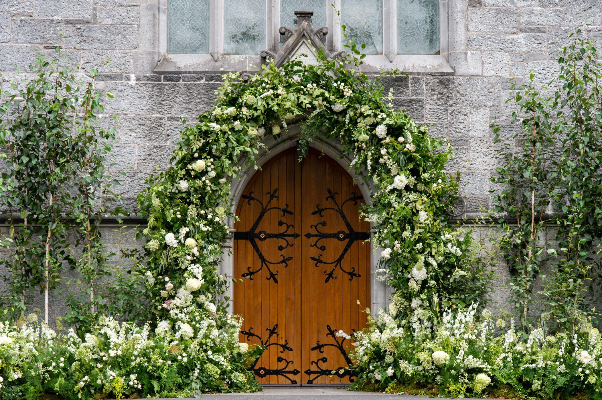 Arch over chapel door before Ireland wedding.
