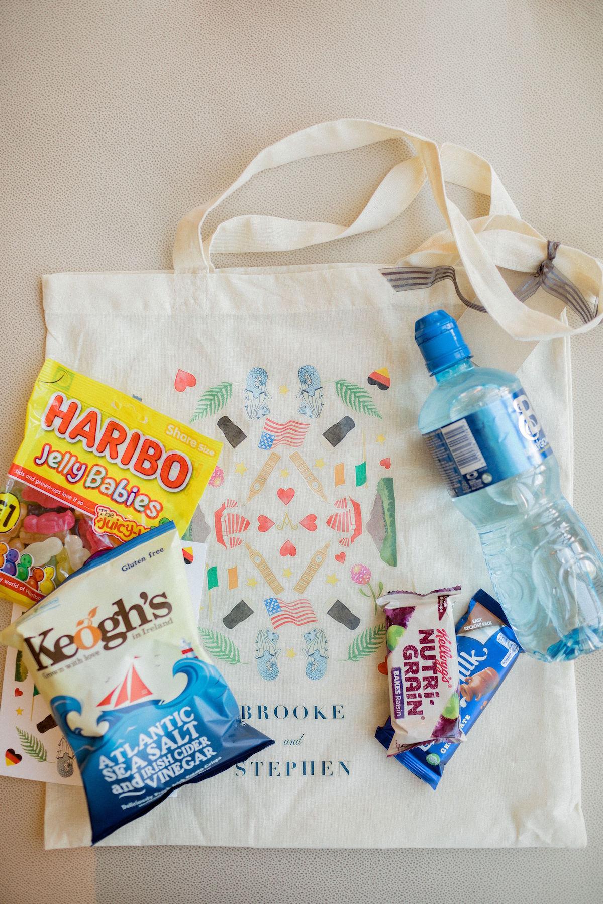 Welcome bags with custom destination wedding design