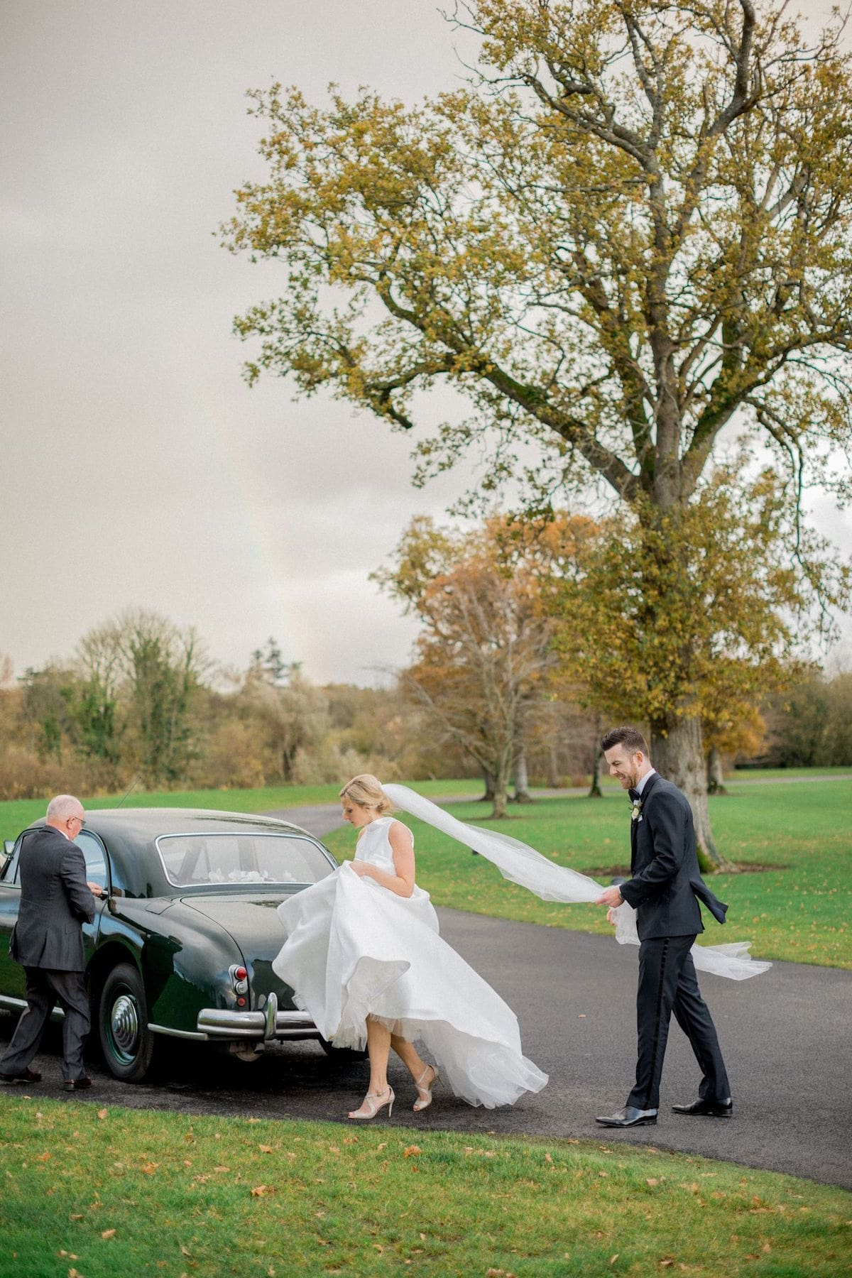 Green Bentley wedding car