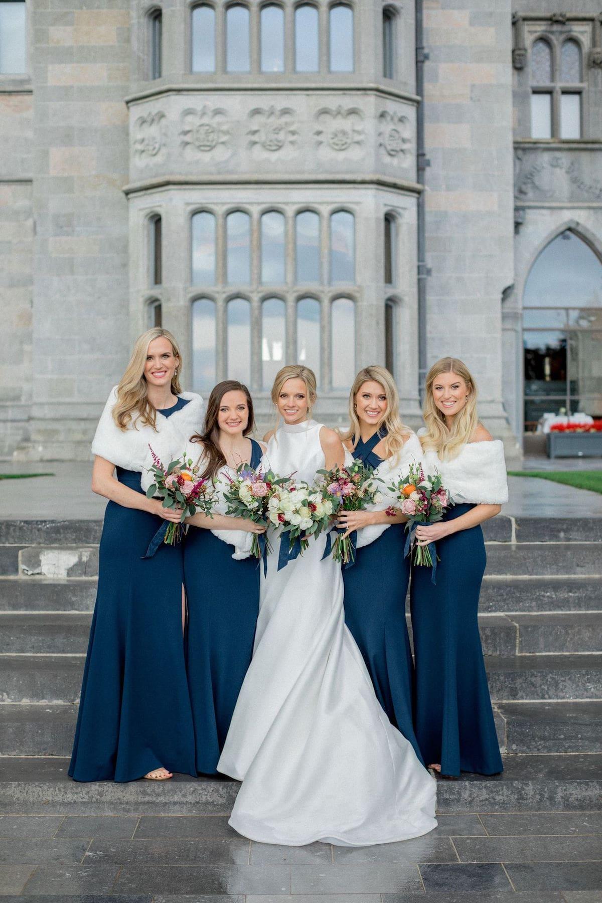 Adare Manor wedding navy blue bridesmaid dresses