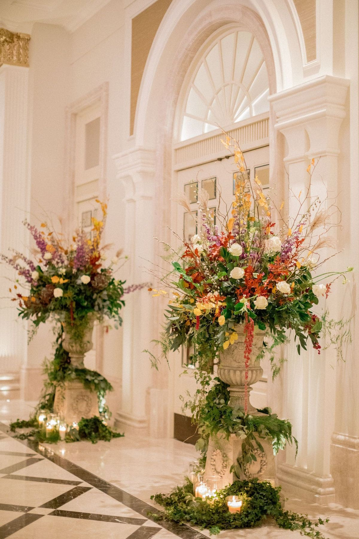 Adare Manor Grand Ballroom entrance with floral arrangements
