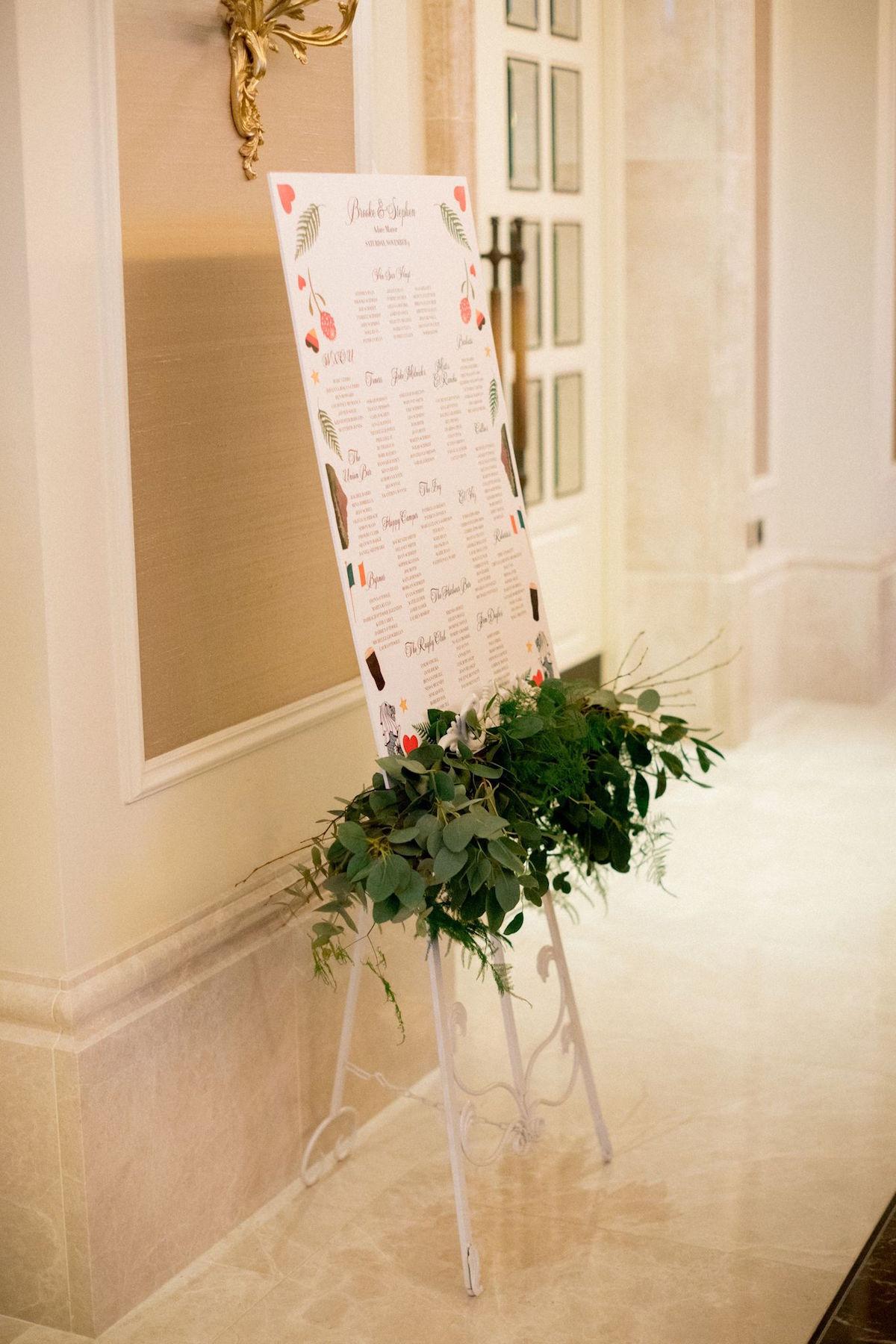 Wedding seating plan with custom destination wedding design