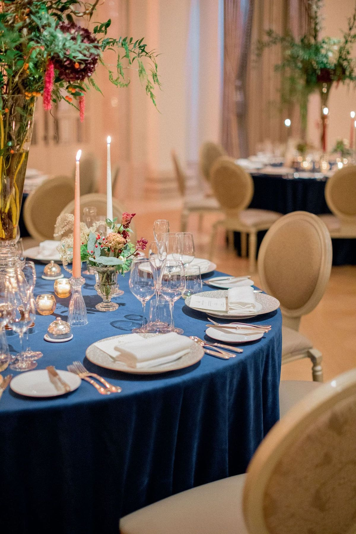 Navy tablecloths for winter wedding reception