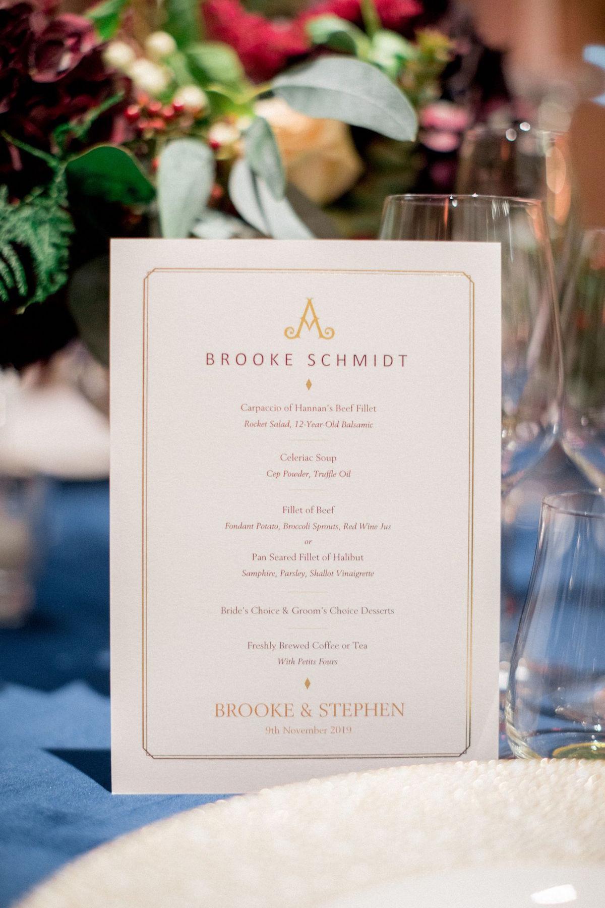 Personalized menu for Adare Manor wedding