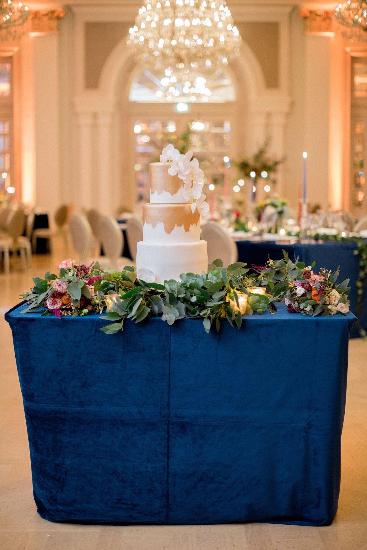Adare Manor wedding gold tiered cake