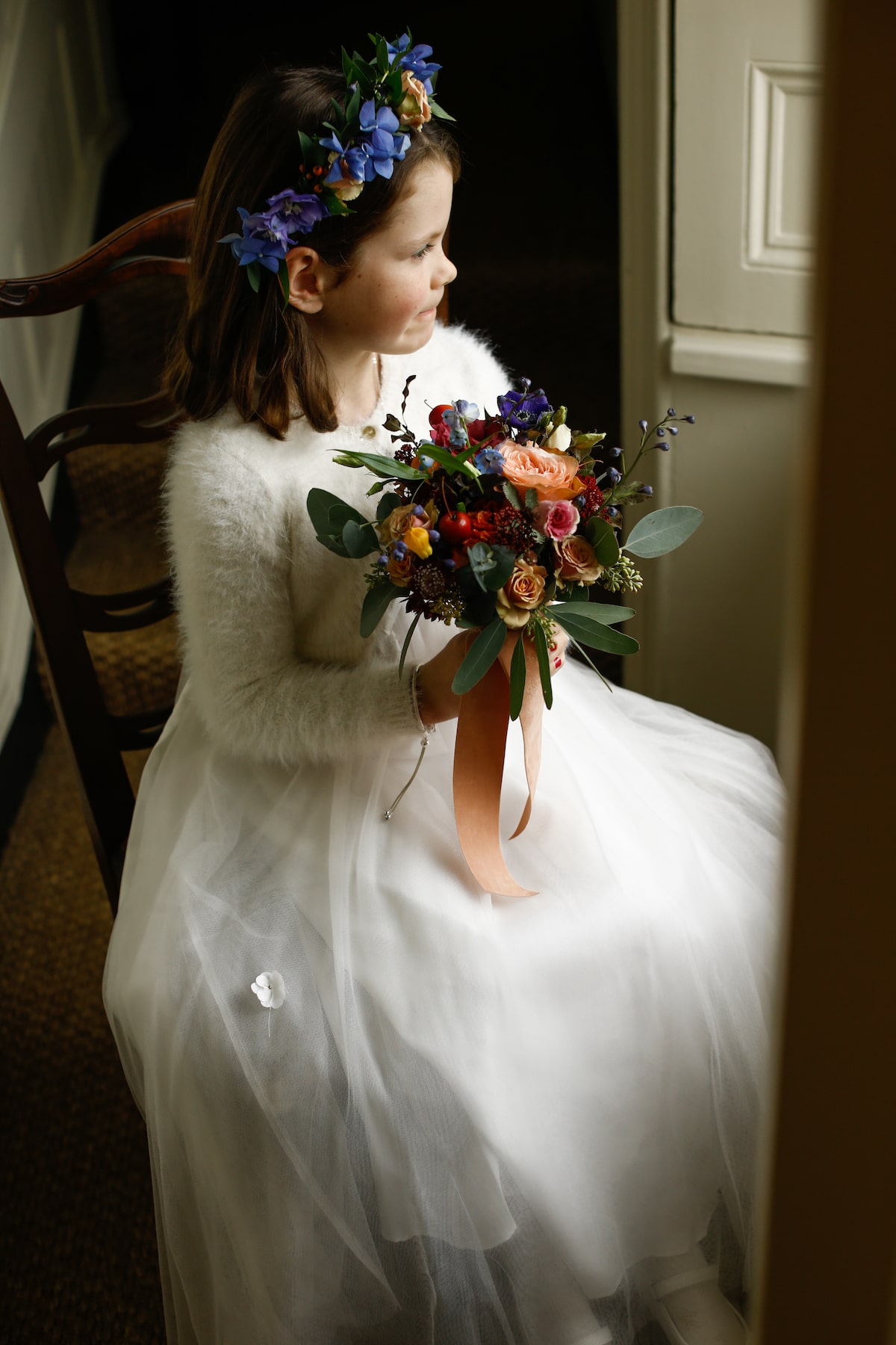 fall wedding flower girl