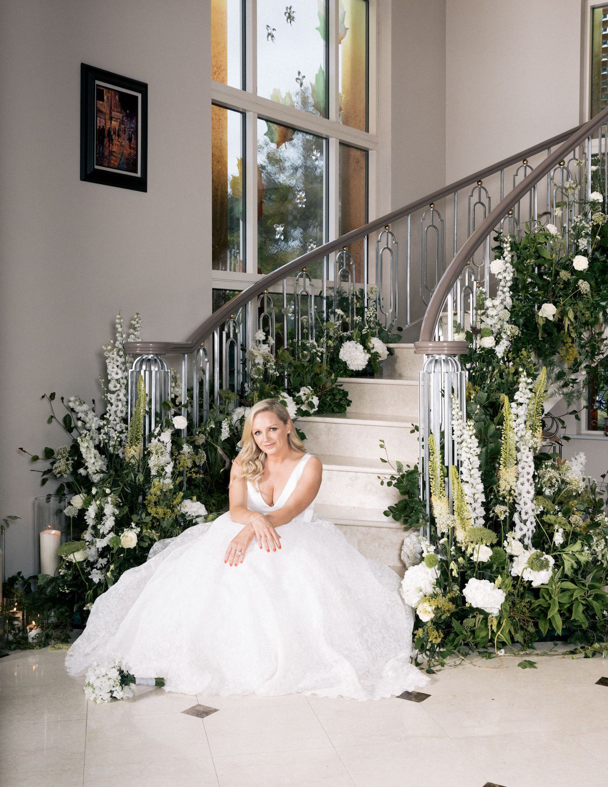 floral staircase at home wedding