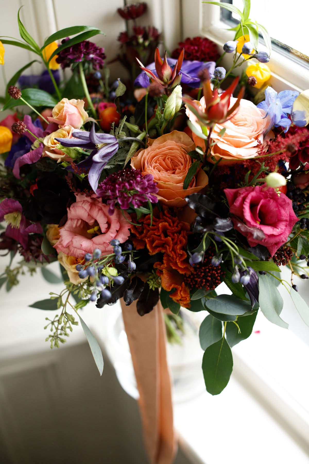 fall wedding colorful bridal bouquet