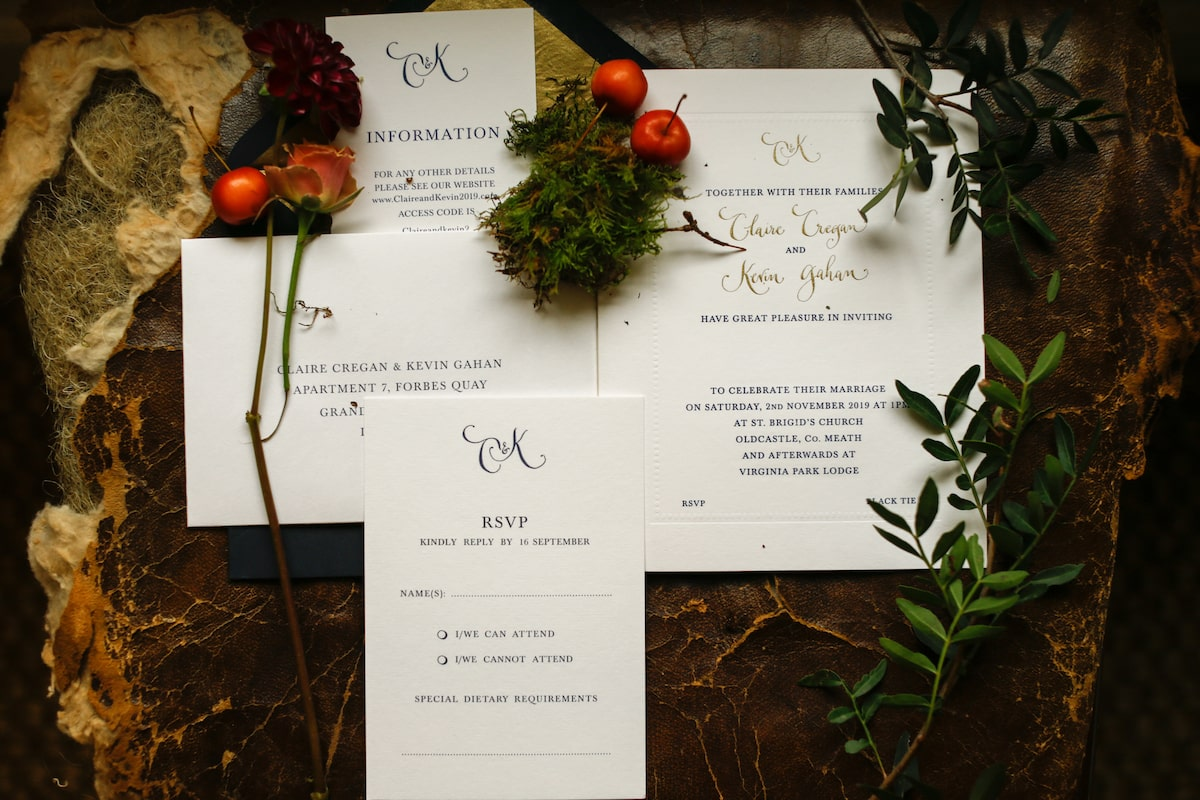 Virginia Park Lodge autumn wedding invitation