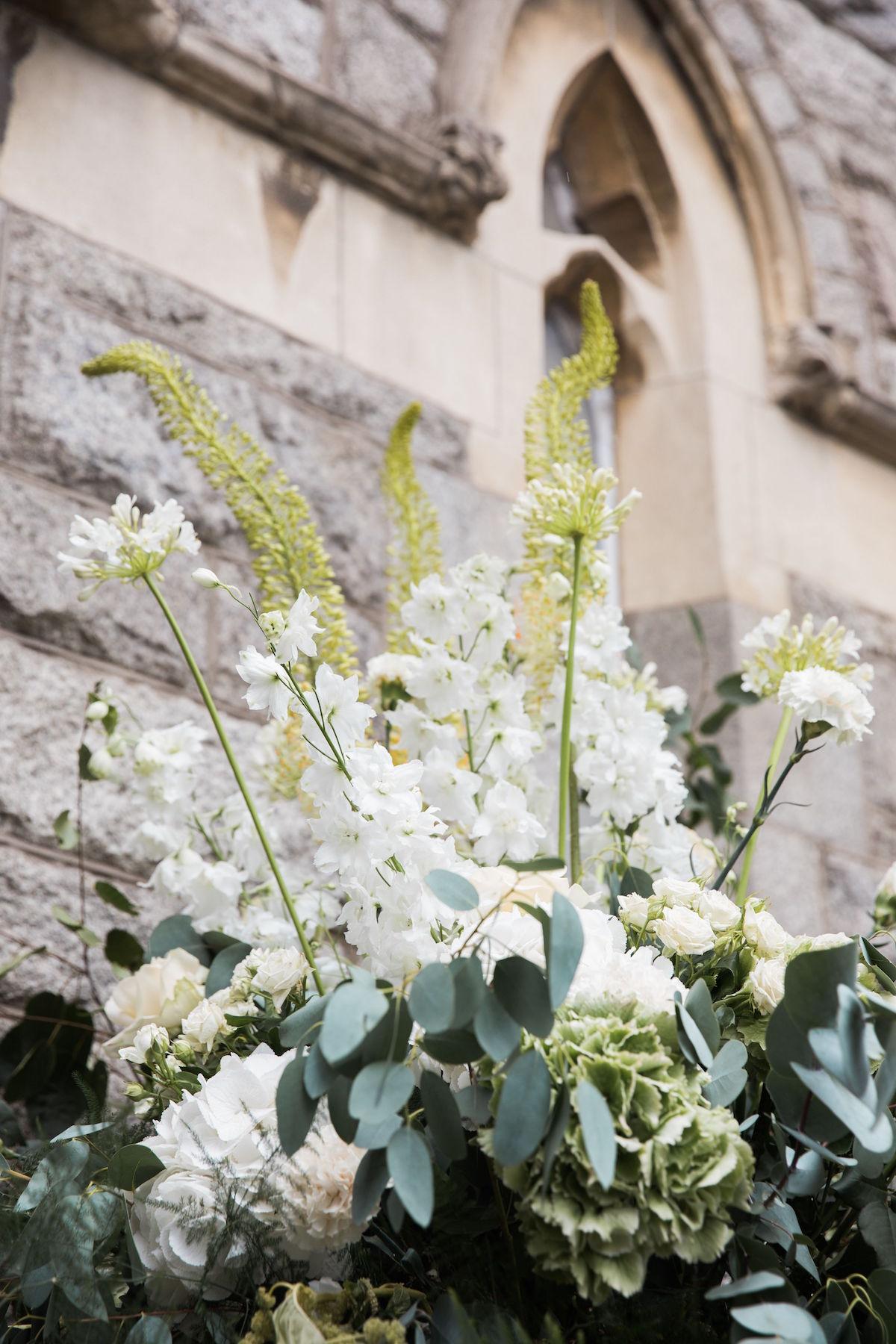 church wedding entrance arrangement