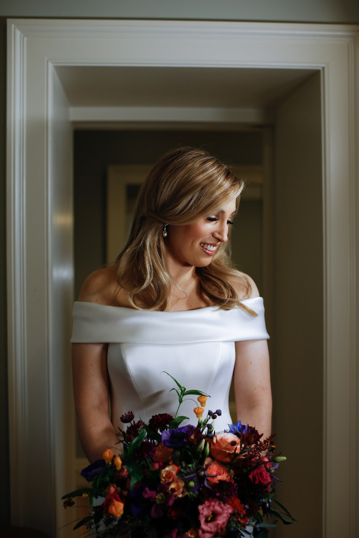 Suzanne Neville off the shoulder wedding dress