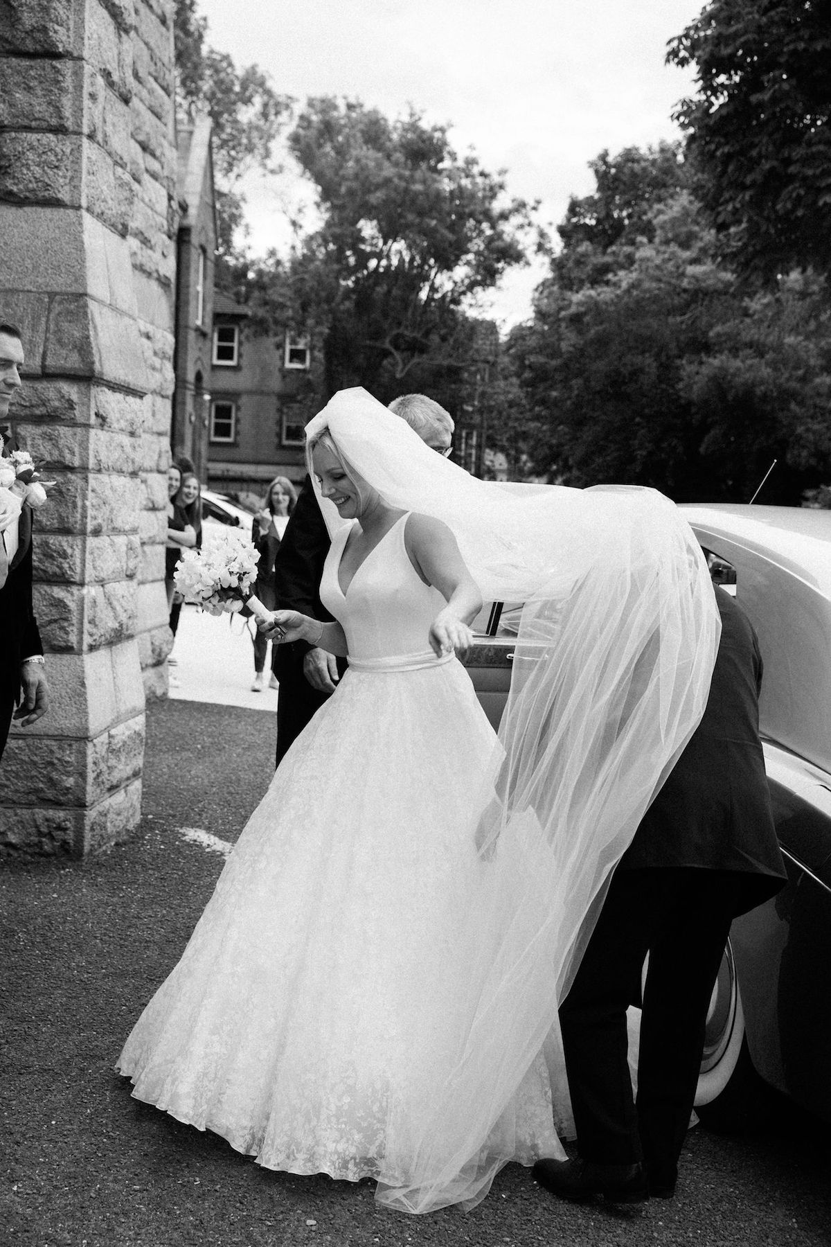 bride in cathedral length veil