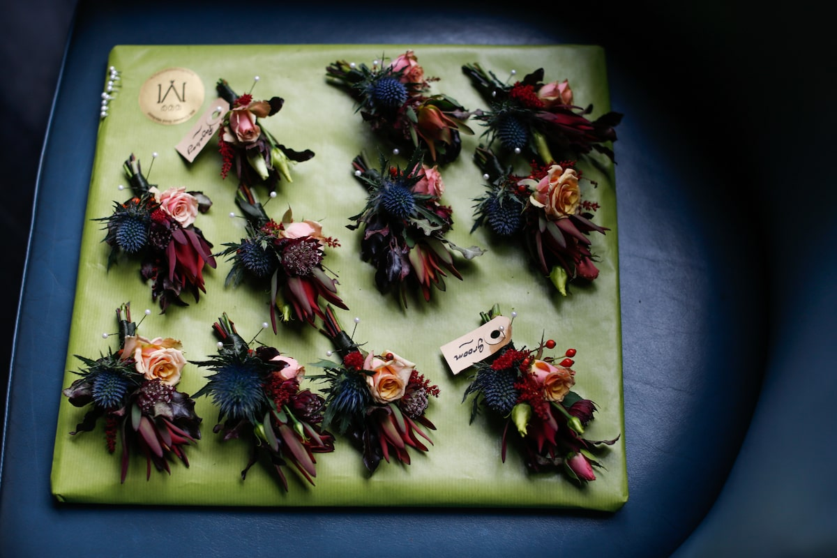 autumn wedding boutonnieres