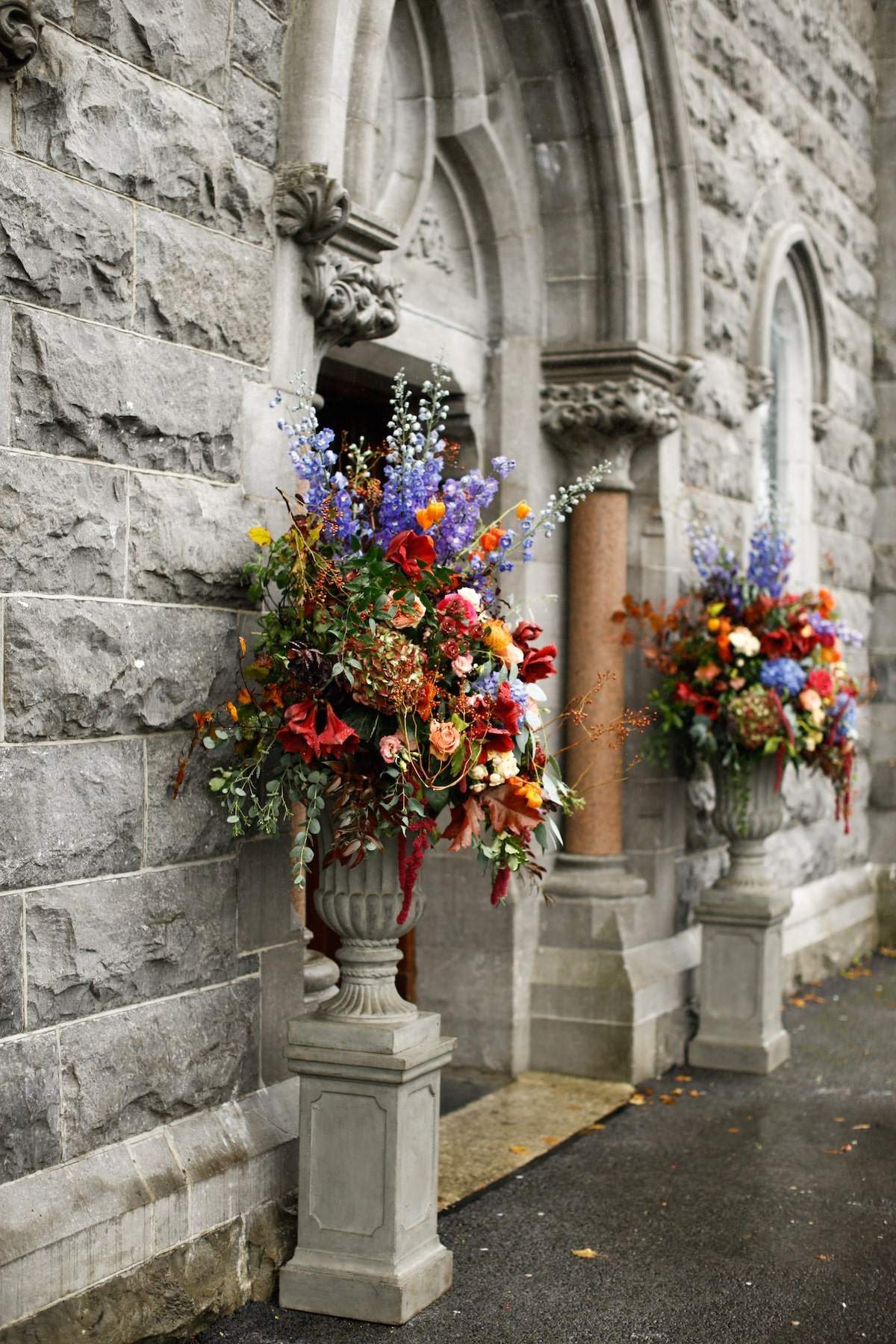 church wedding colorful autumn flower arrangements