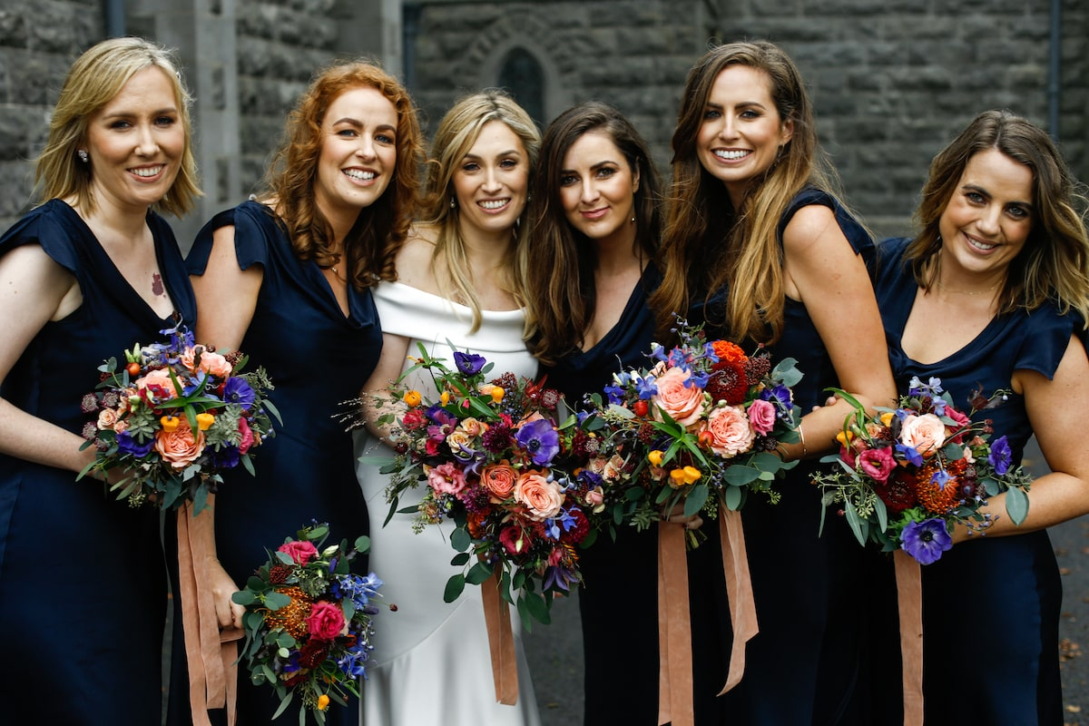 autumn wedding navy blue bridesmaid dresses
