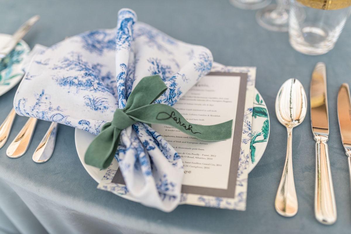 toile napkins with velvet ribbon