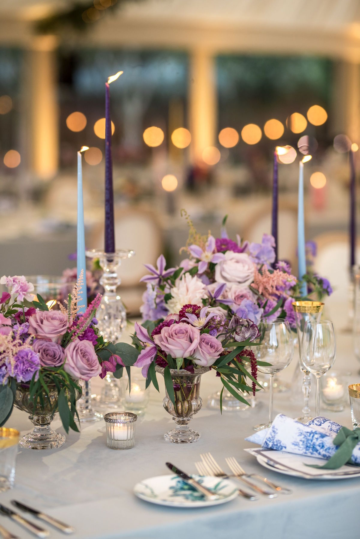 purple flowers for reception