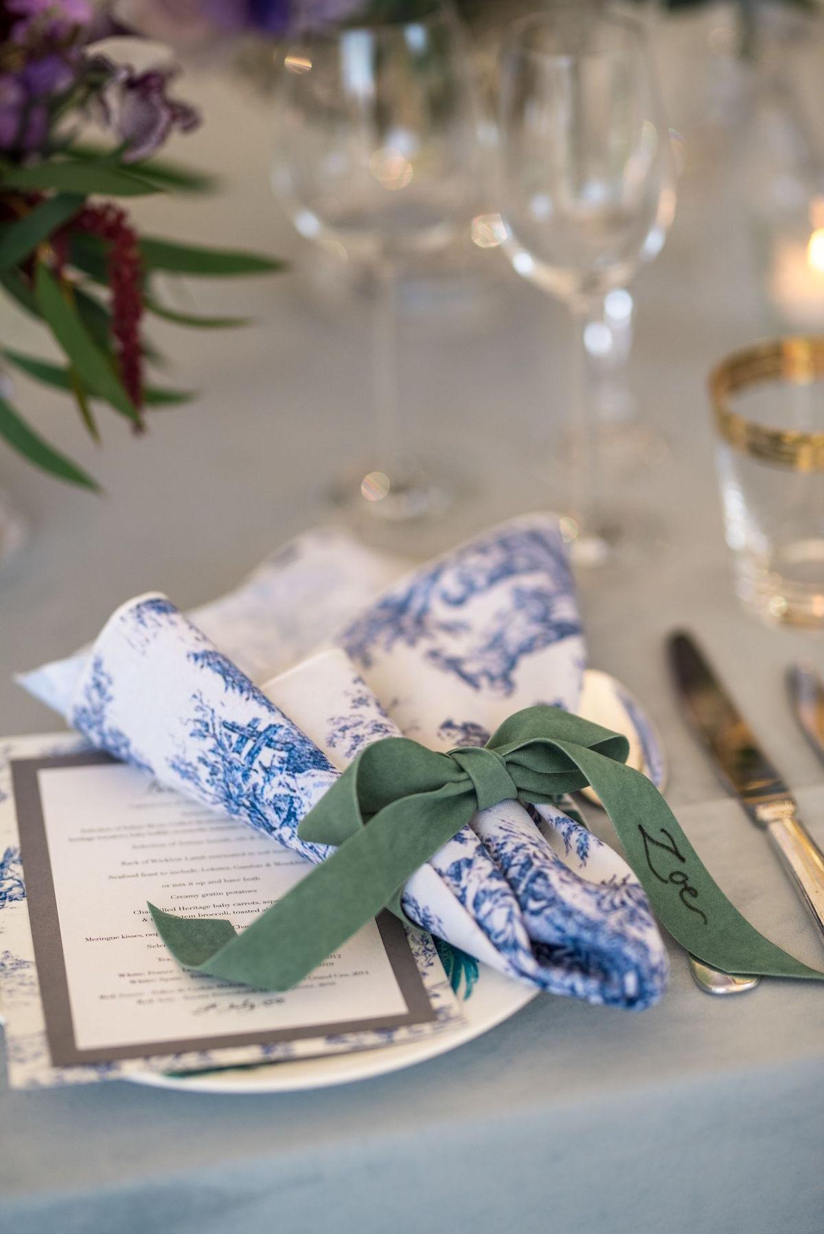 toile napkin and menu