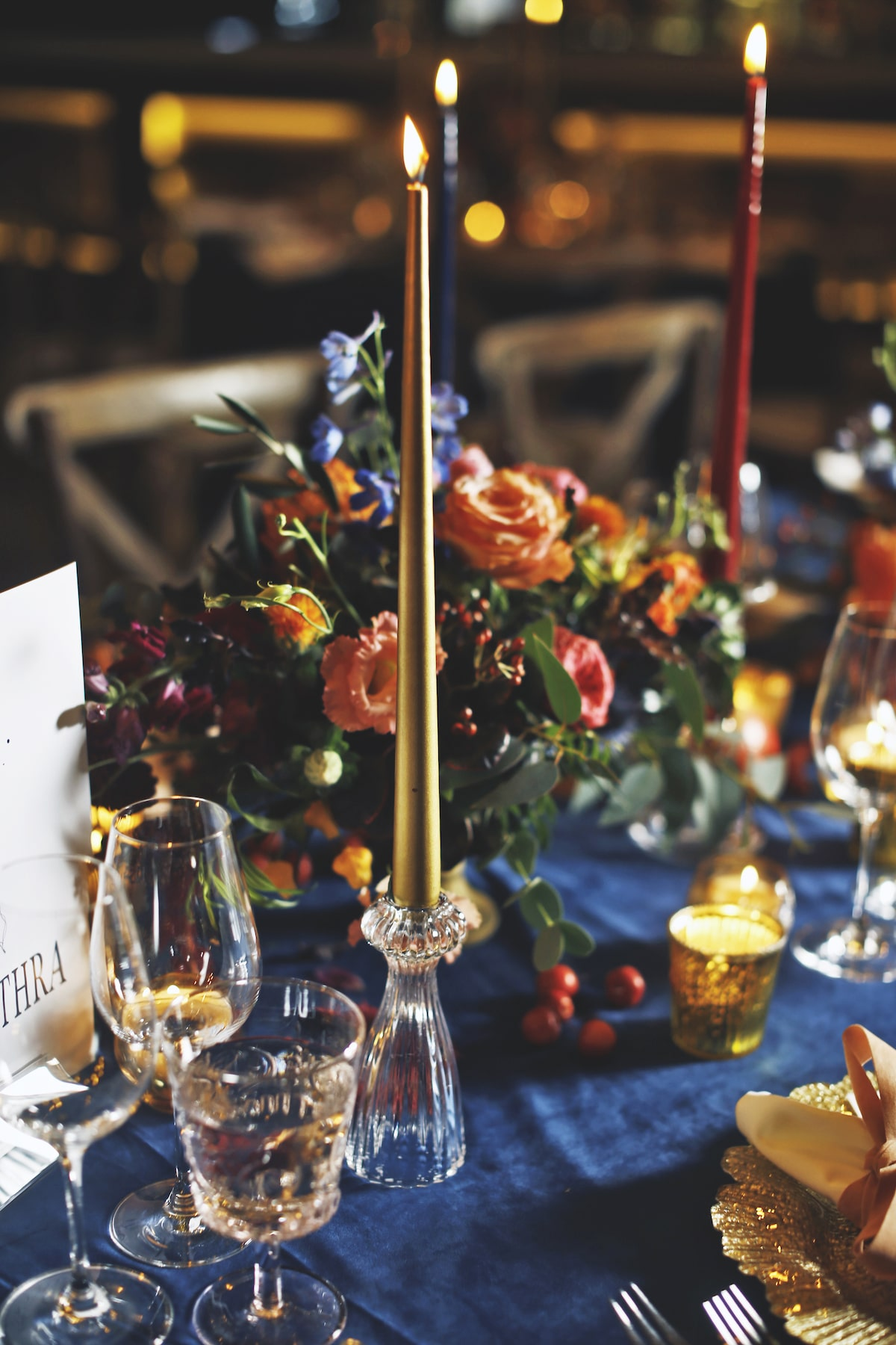 colorful taper candles wedding table décor