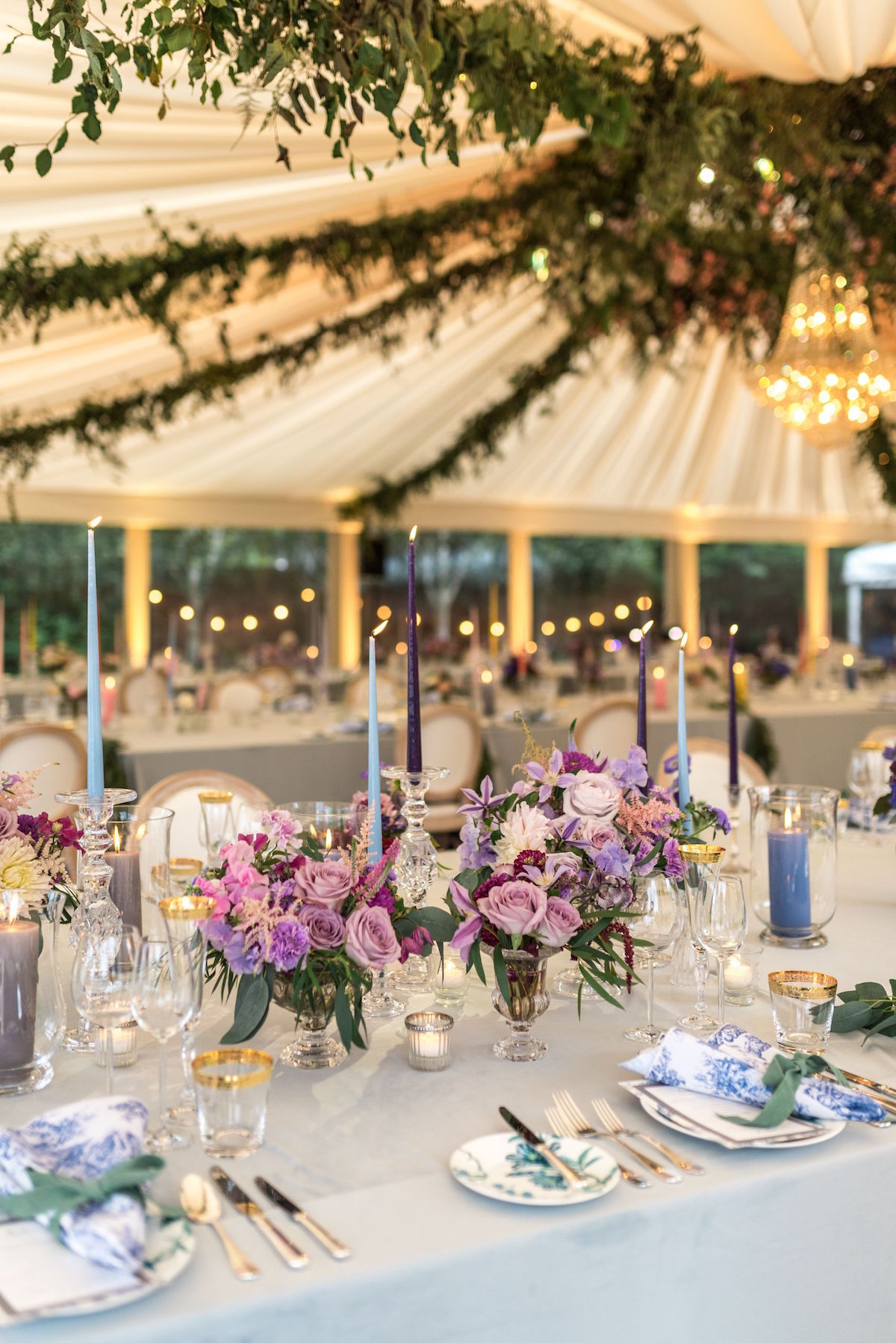 tented reception pastel table décor
