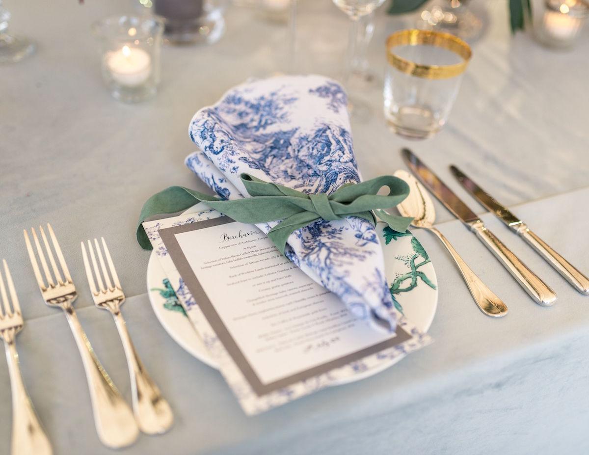 toile napkin place setting summer wedding