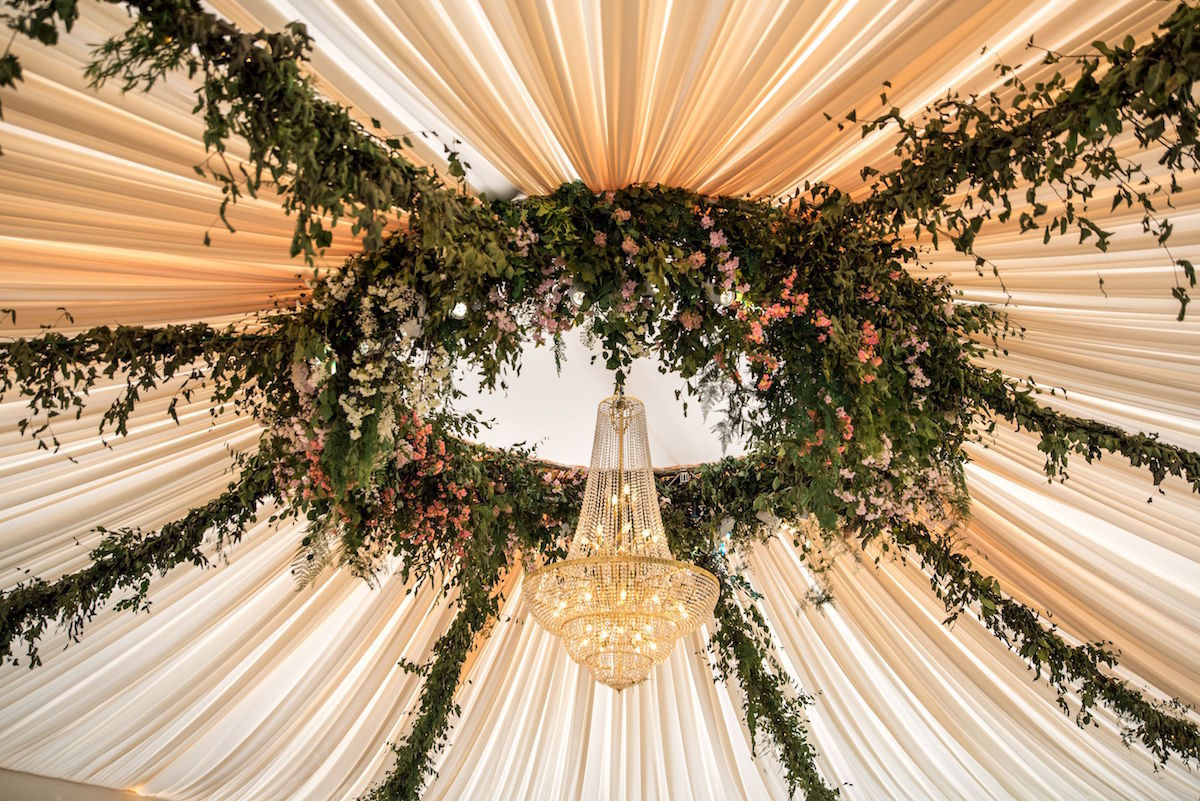 floral greenery garlands crystal chandelier