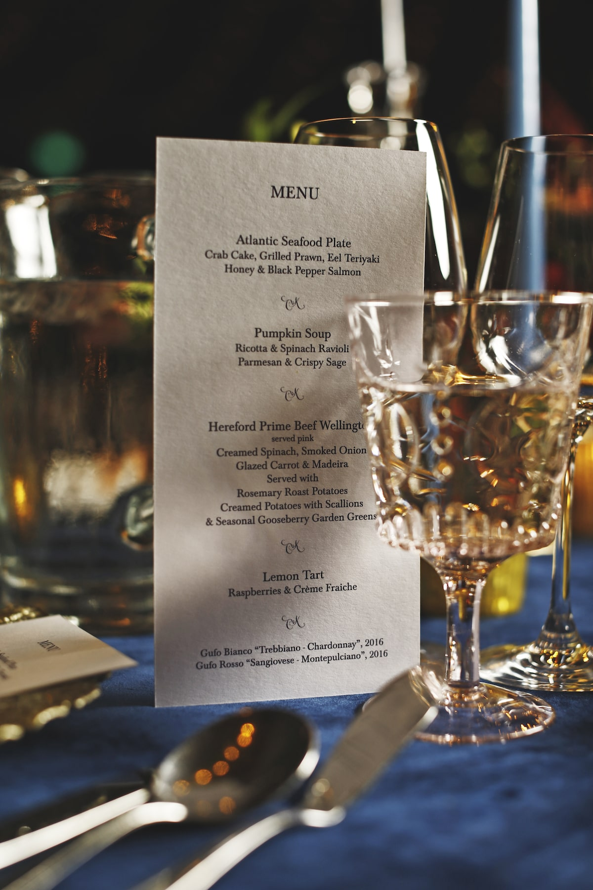 Virginia Park Lodge wedding menu