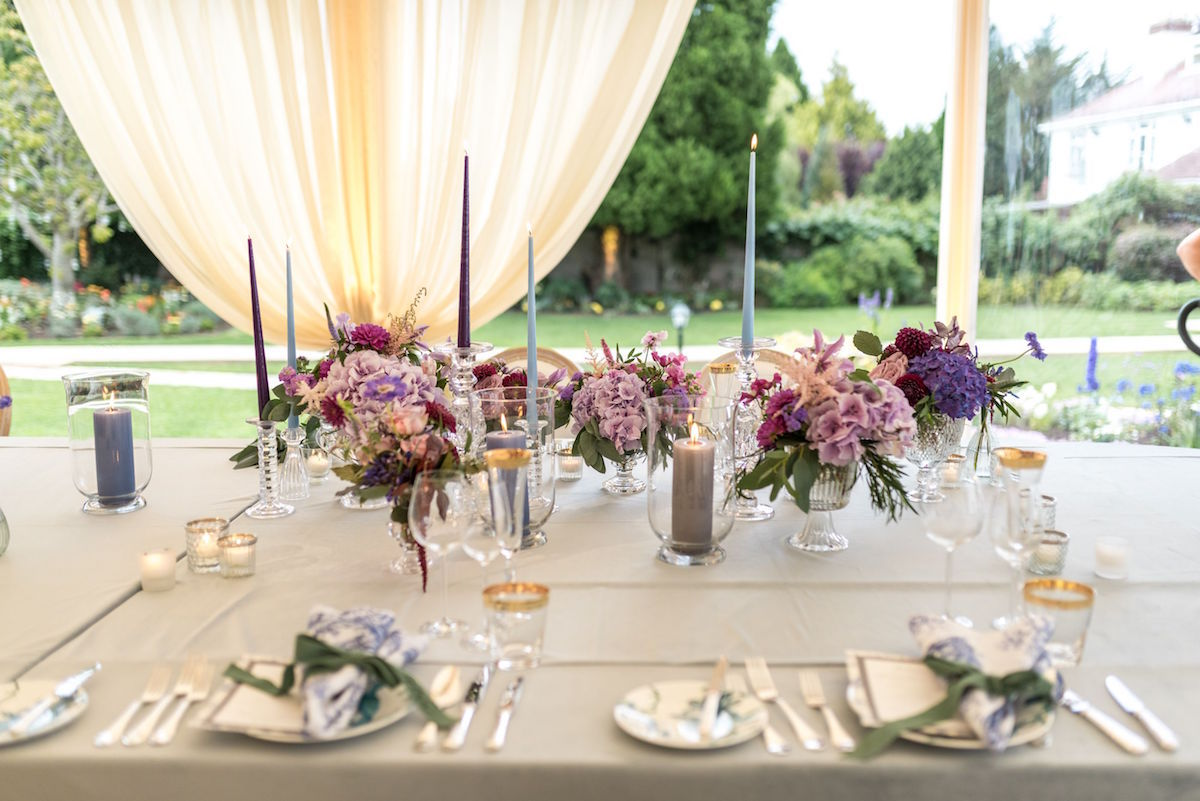 pastel florals and candles with glass