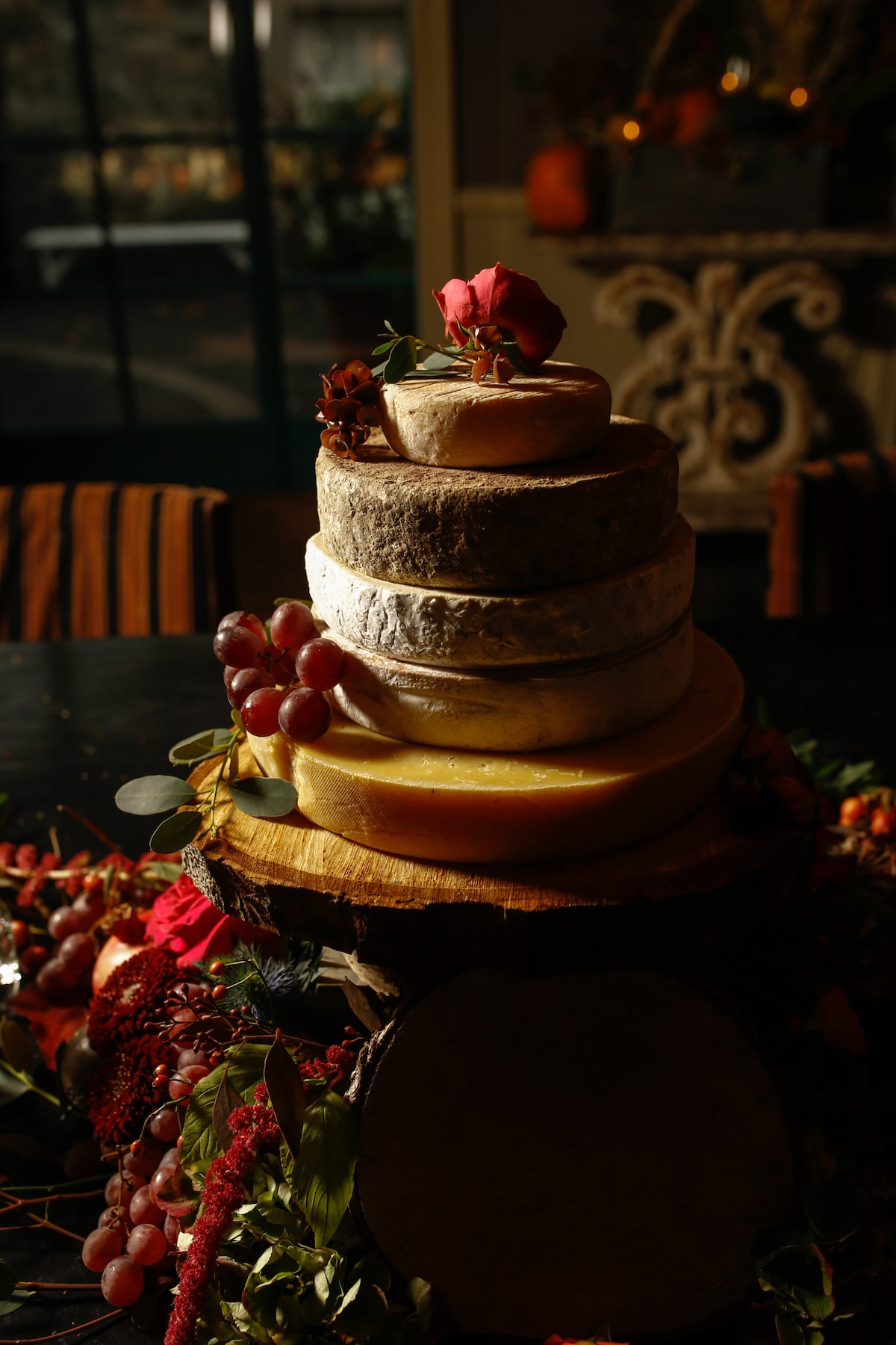 cheese wheel wedding cake for fall wedding