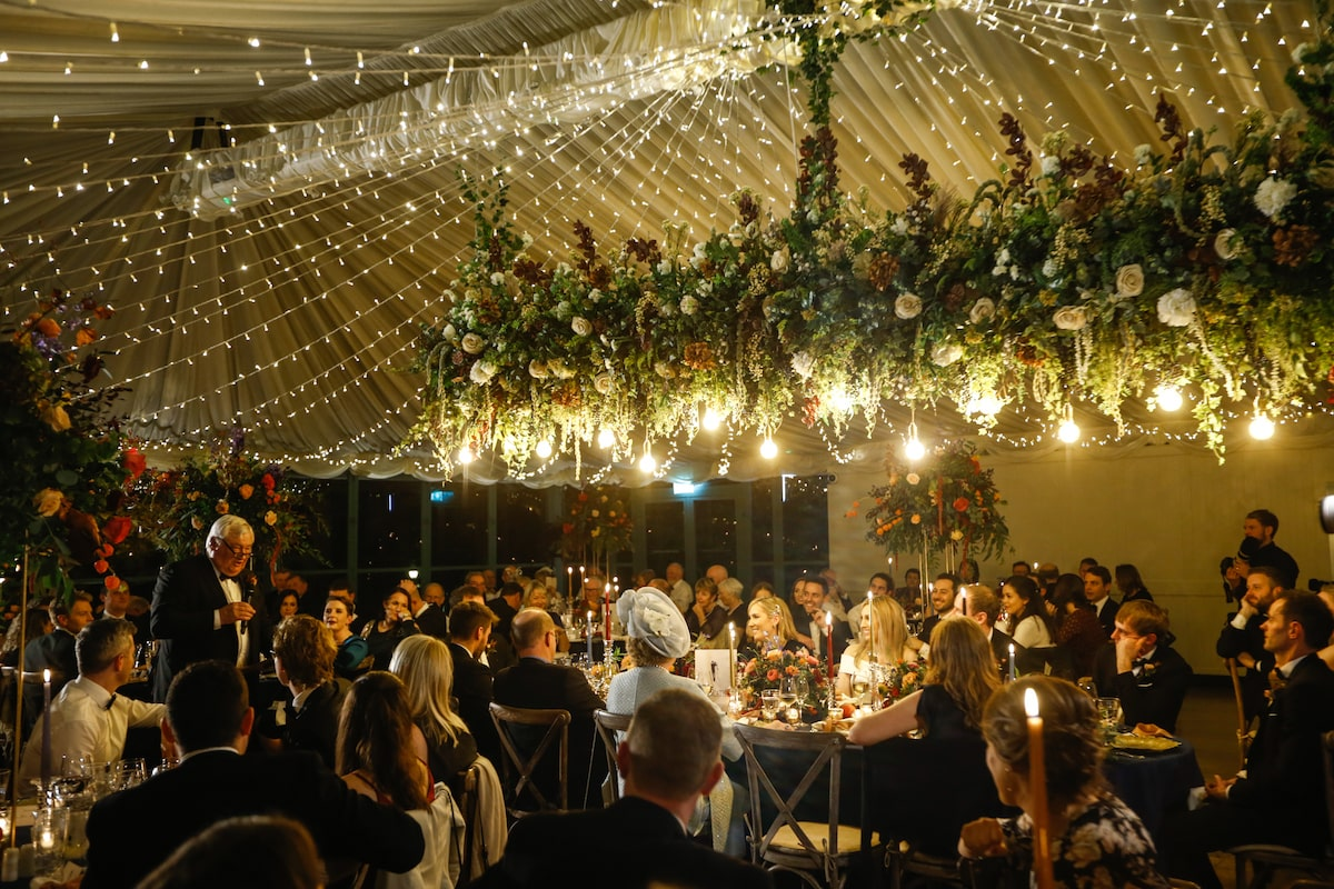 Virginia Park Lodge wedding reception with twinkle lights