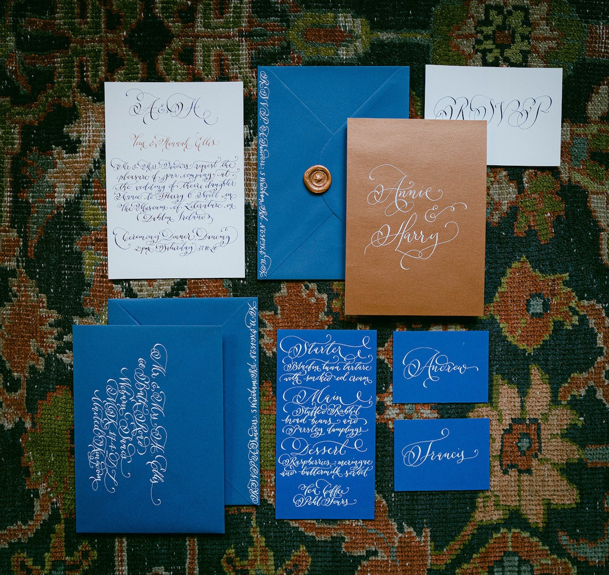 French-blue-and-copper-calligraphy-wedding-invitation-suite