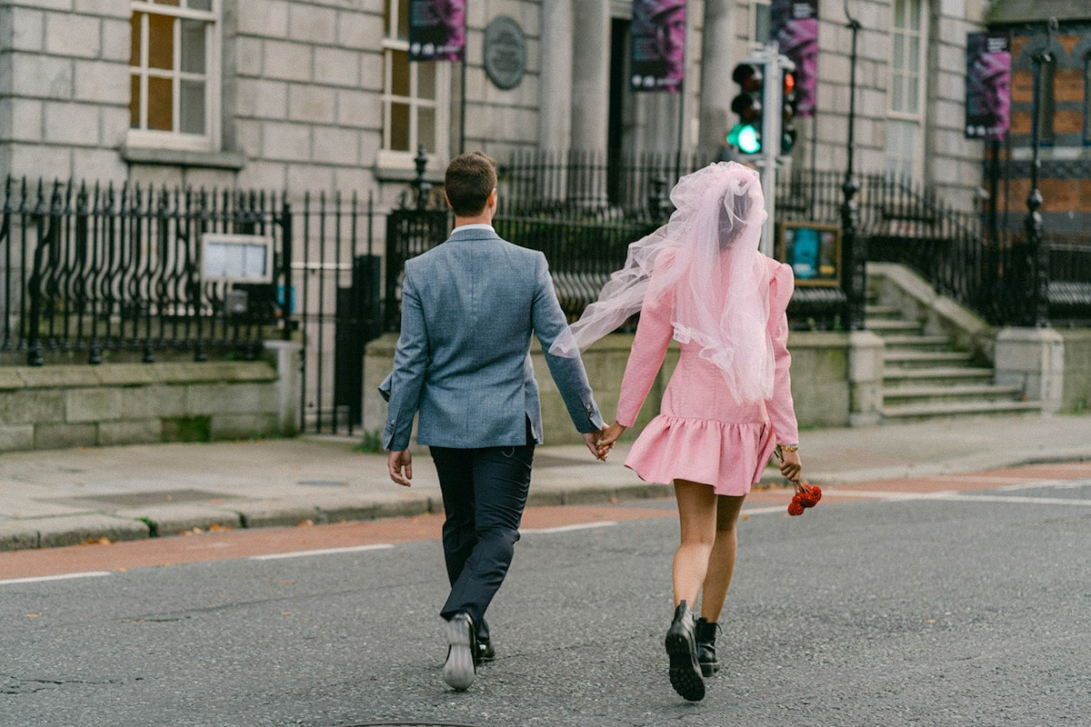 pink retro dublin elopement styled shoot