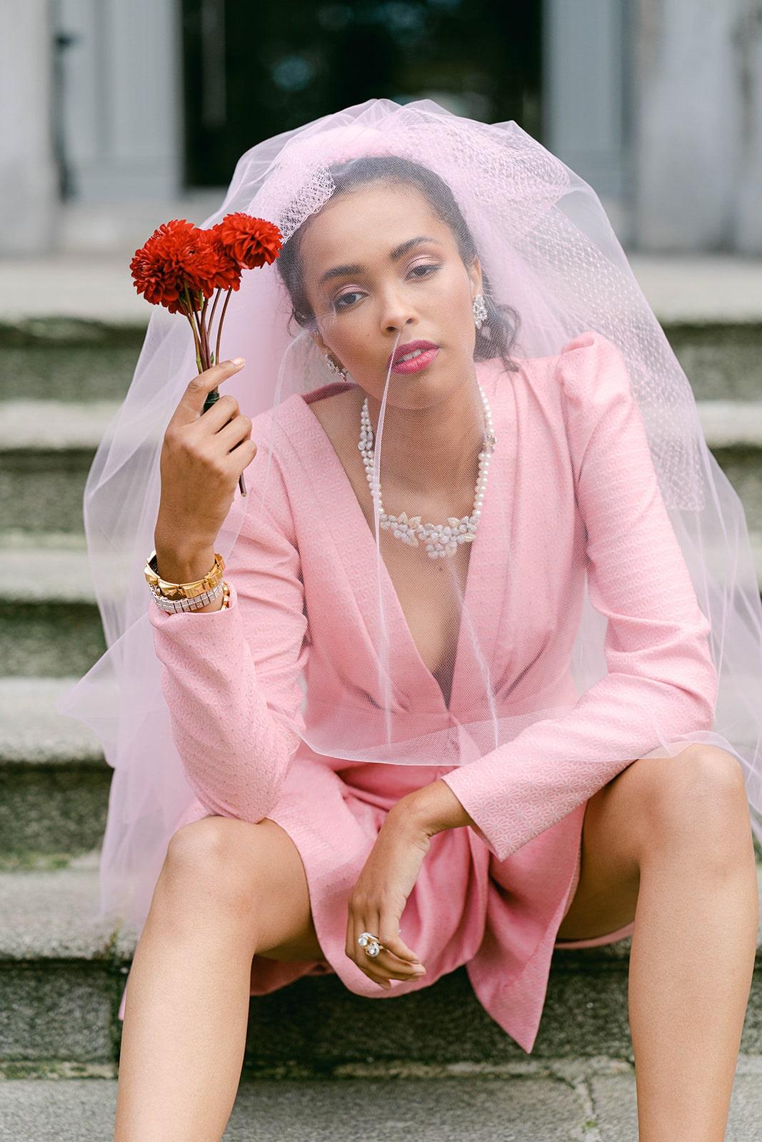 short pink wedding dress and pink veil