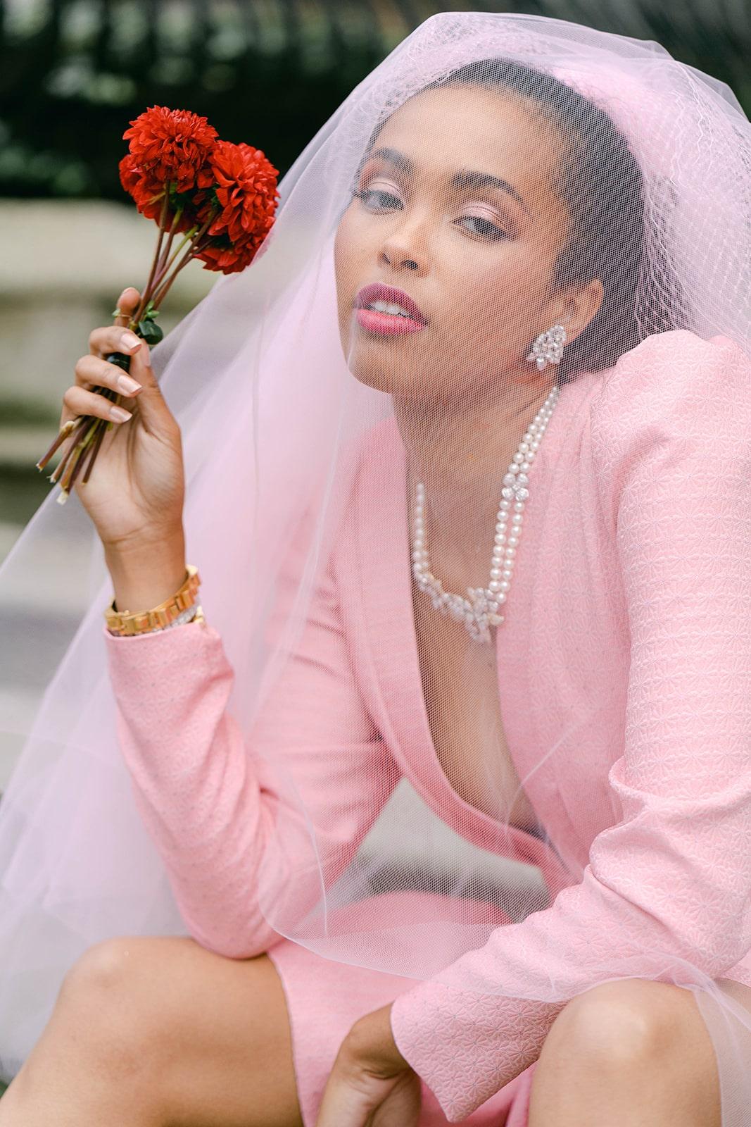 city hall bride pink veil and dress