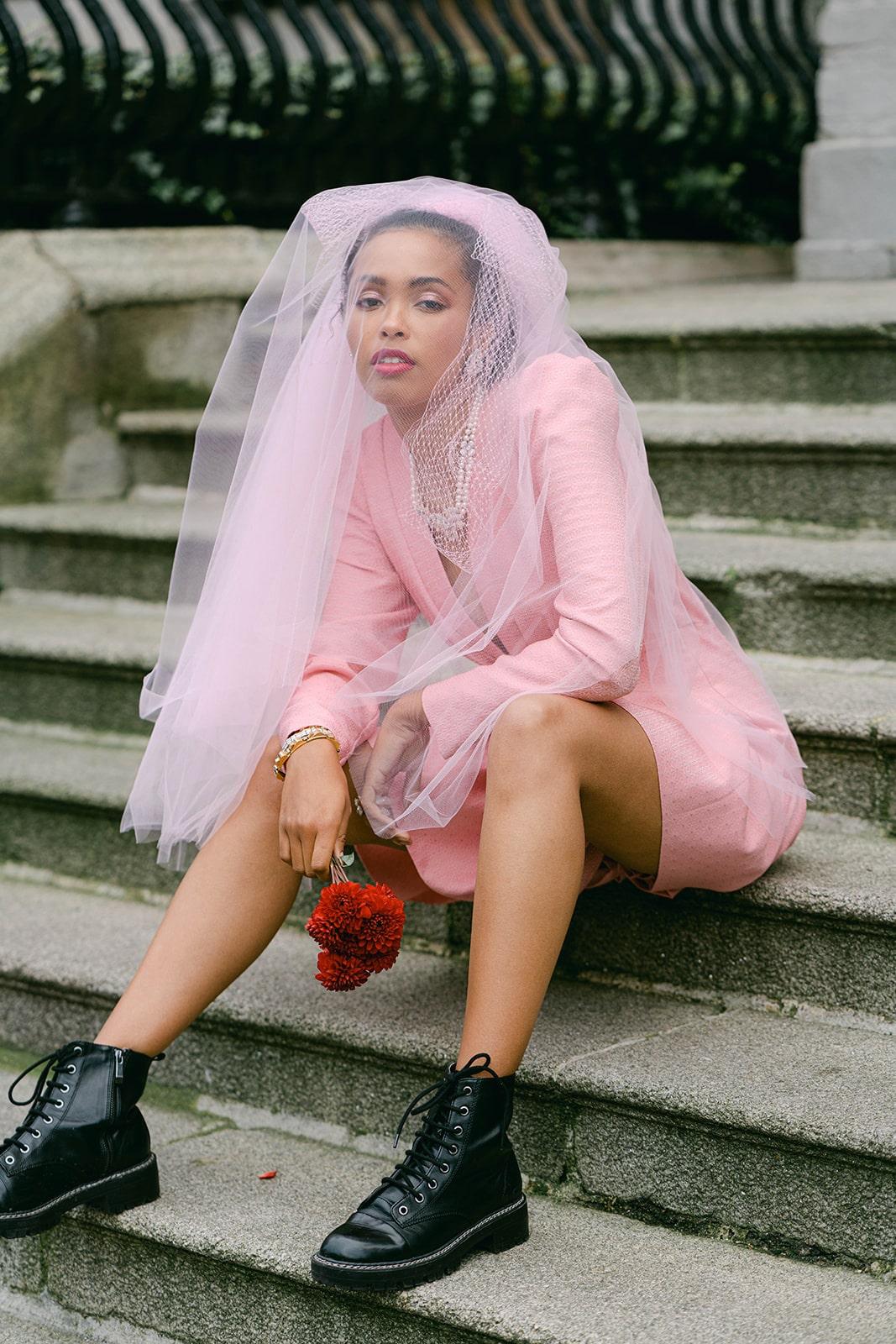 pink dress and dock boots stylish modern bride