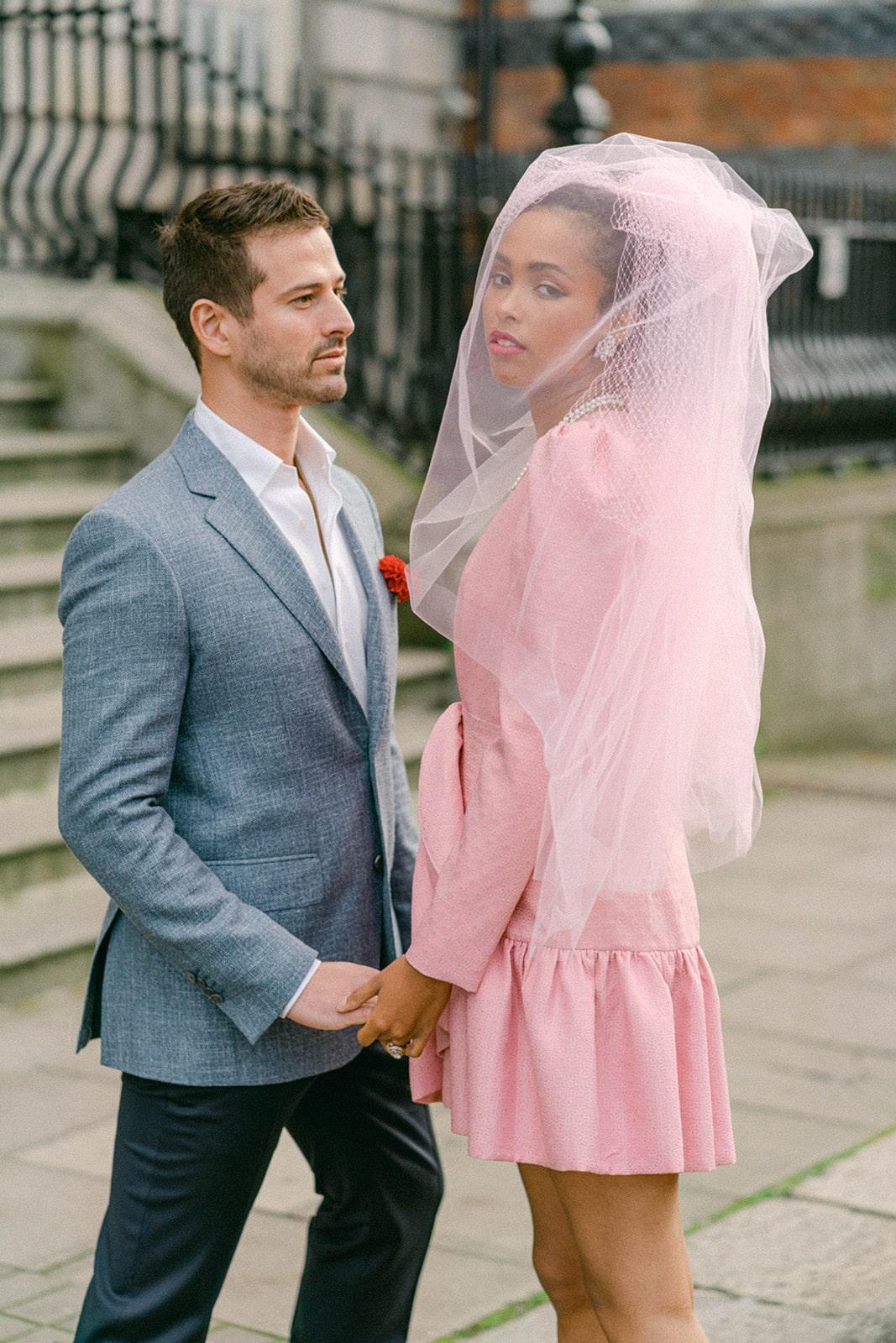 stylish modern couple city wedding