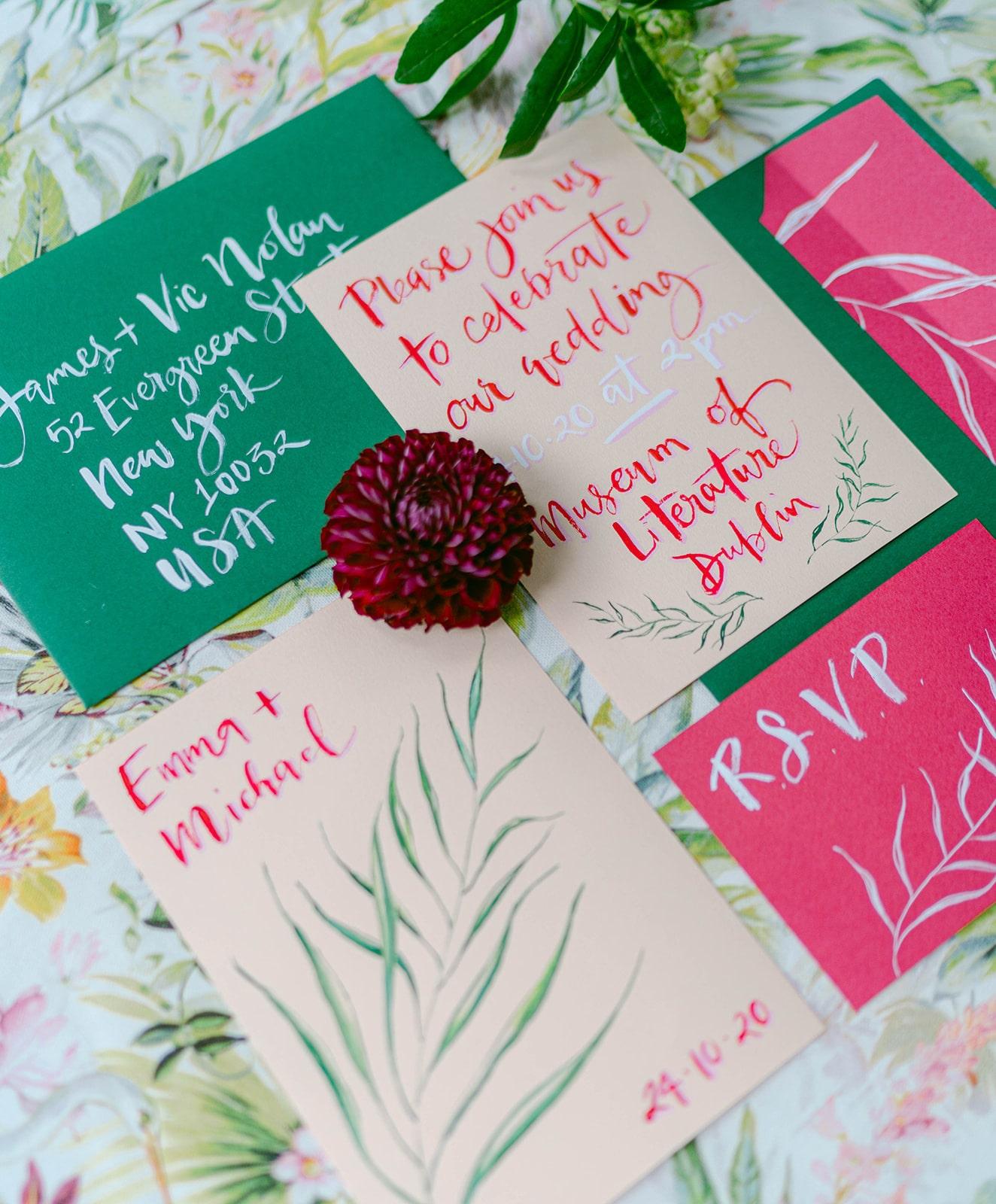 bright watercolor calligraphy wedding invitation suite