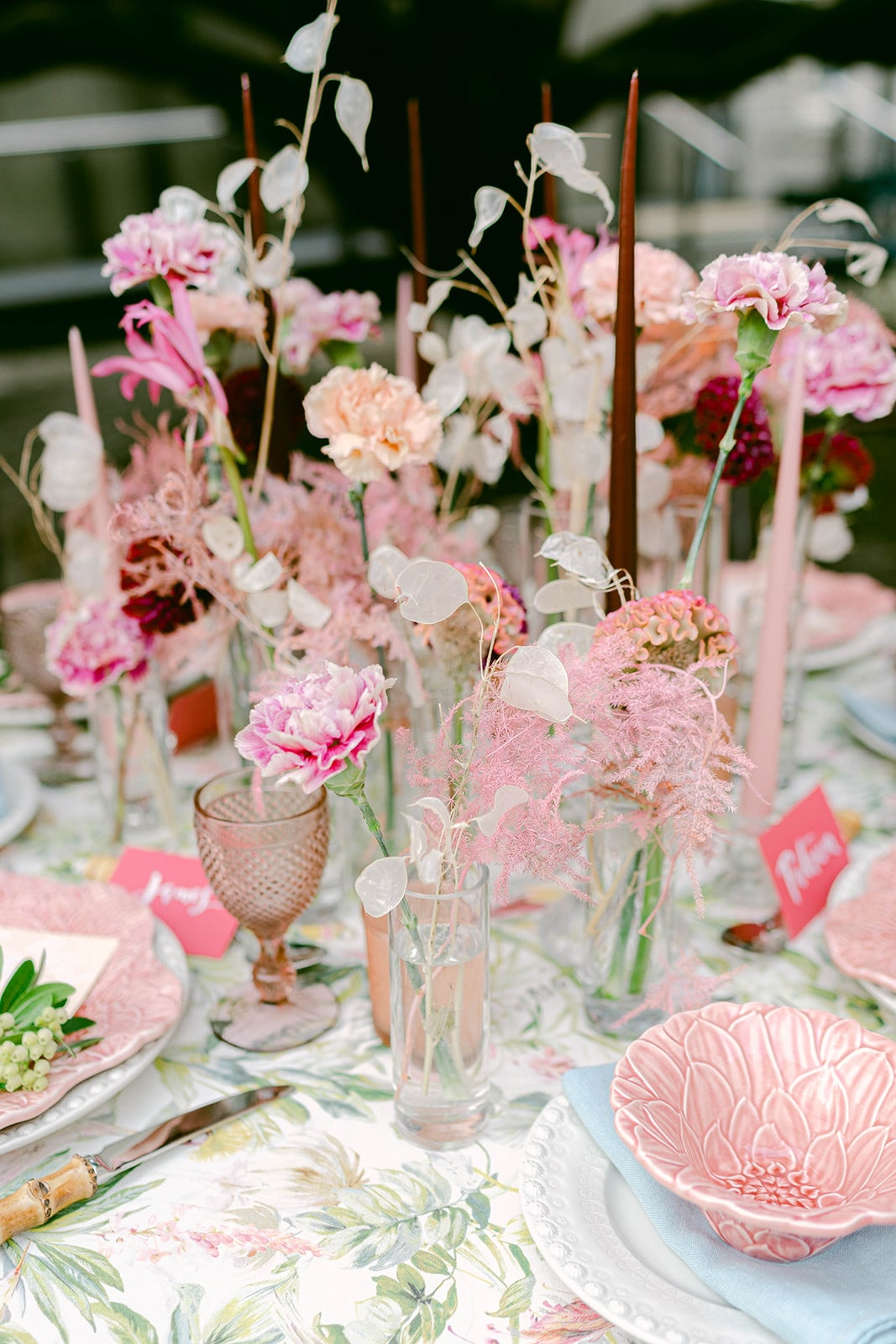 individual vases for wedding centrepiece