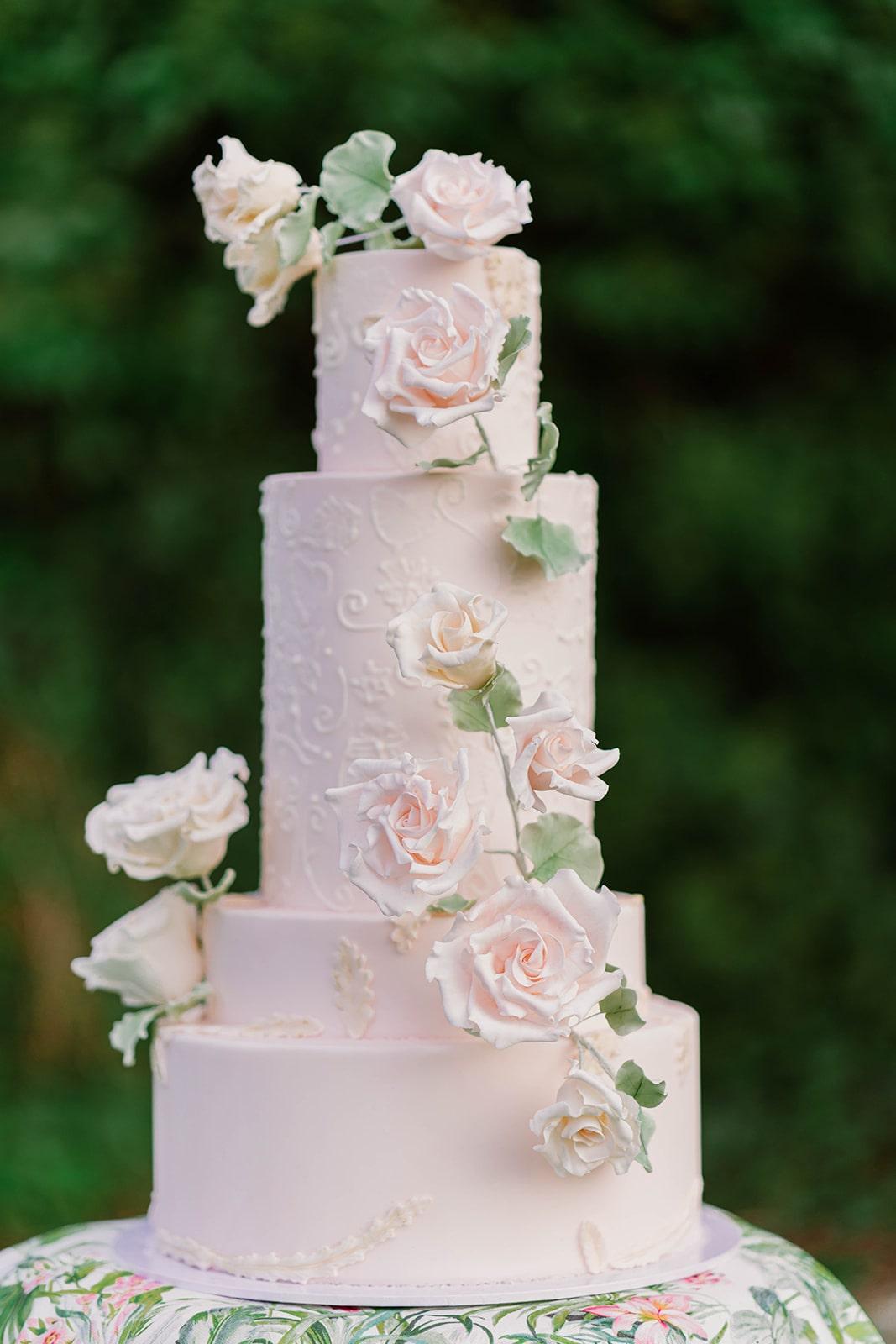 romantic pink floral wedding cake