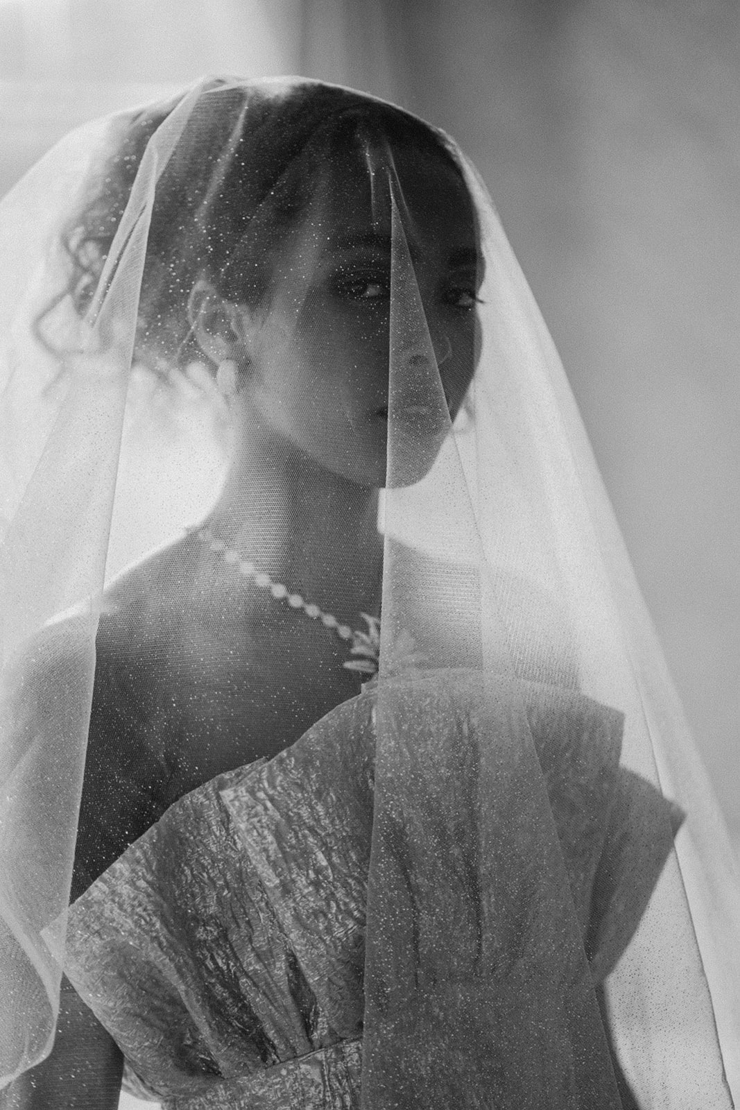 modern bride with sparkle veil and diamond nechlace
