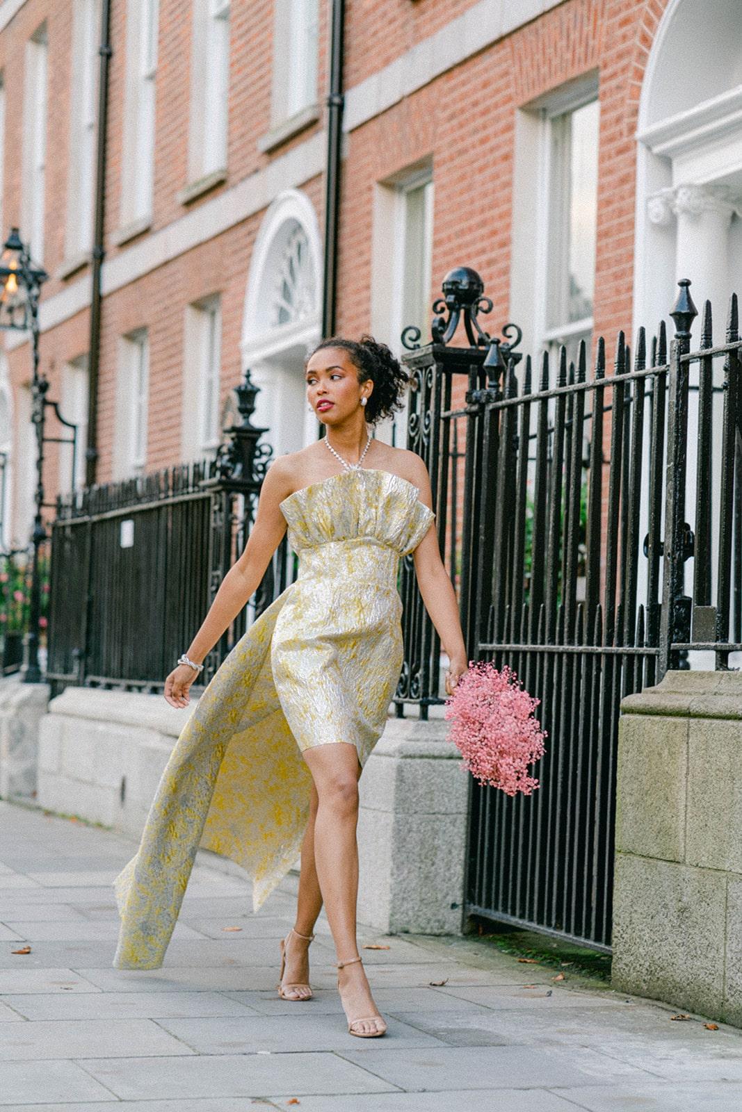 glam city bride gold dress