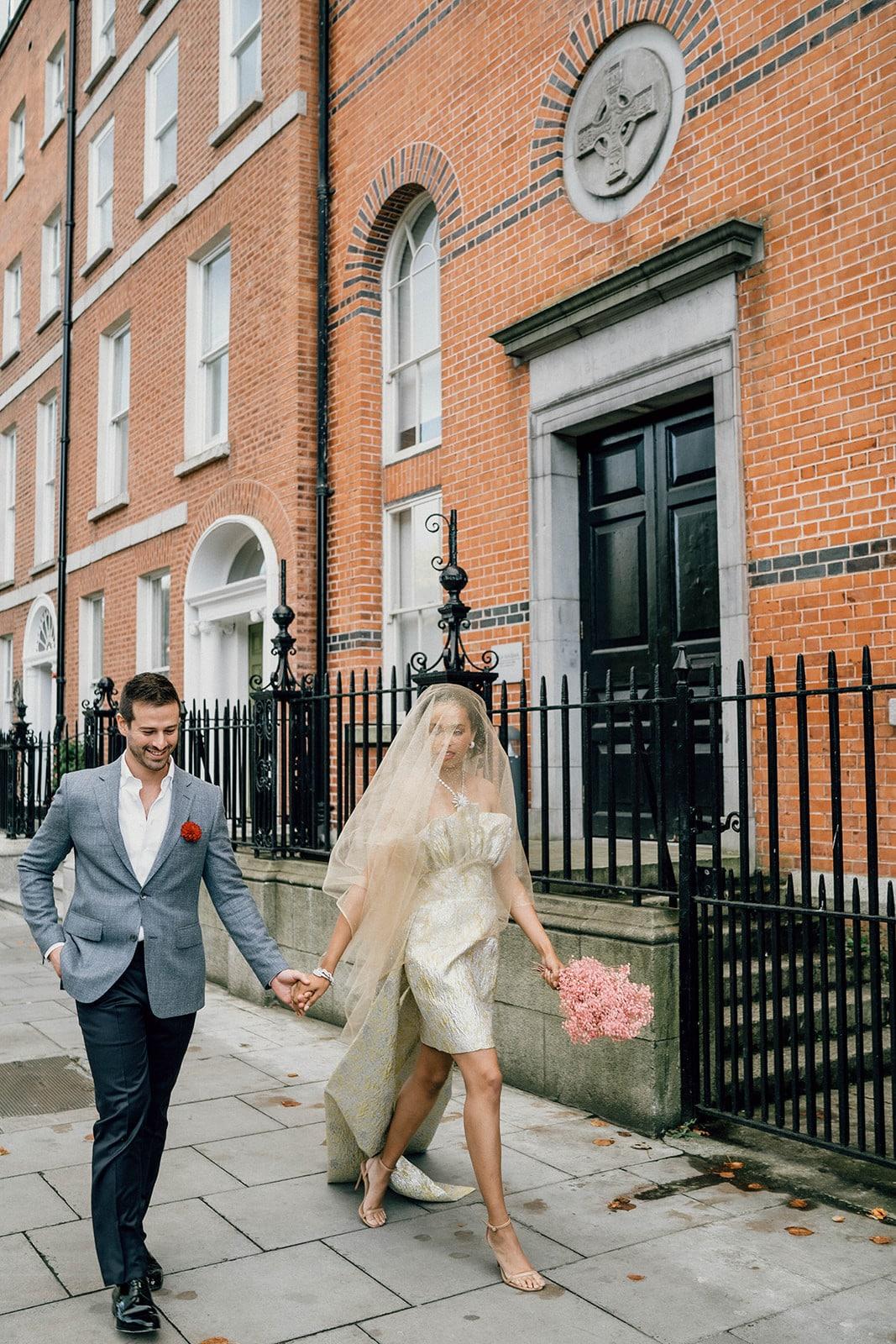 Dublin elopement city bride and groom