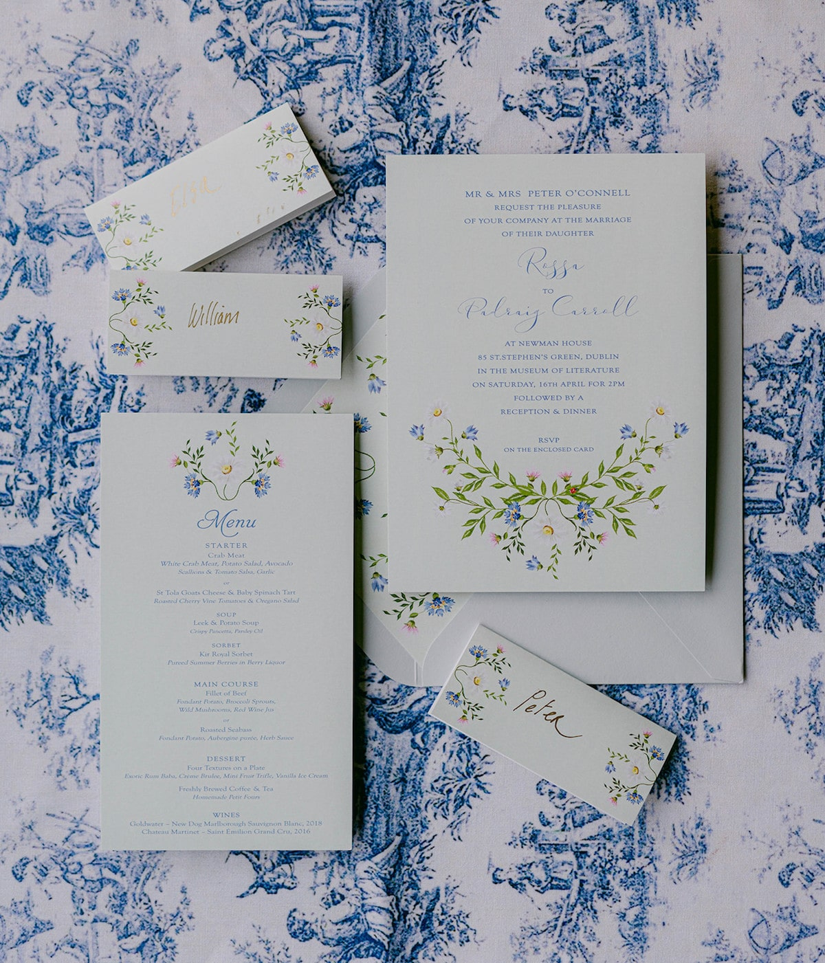 Floral wedding invitation on toile background