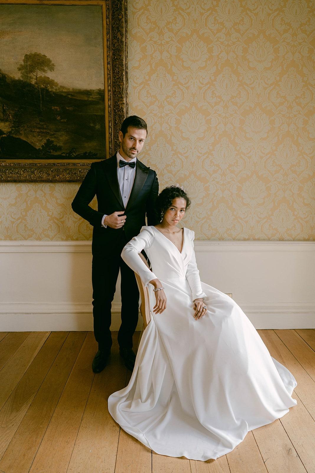 contemporary vintage bride and groom
