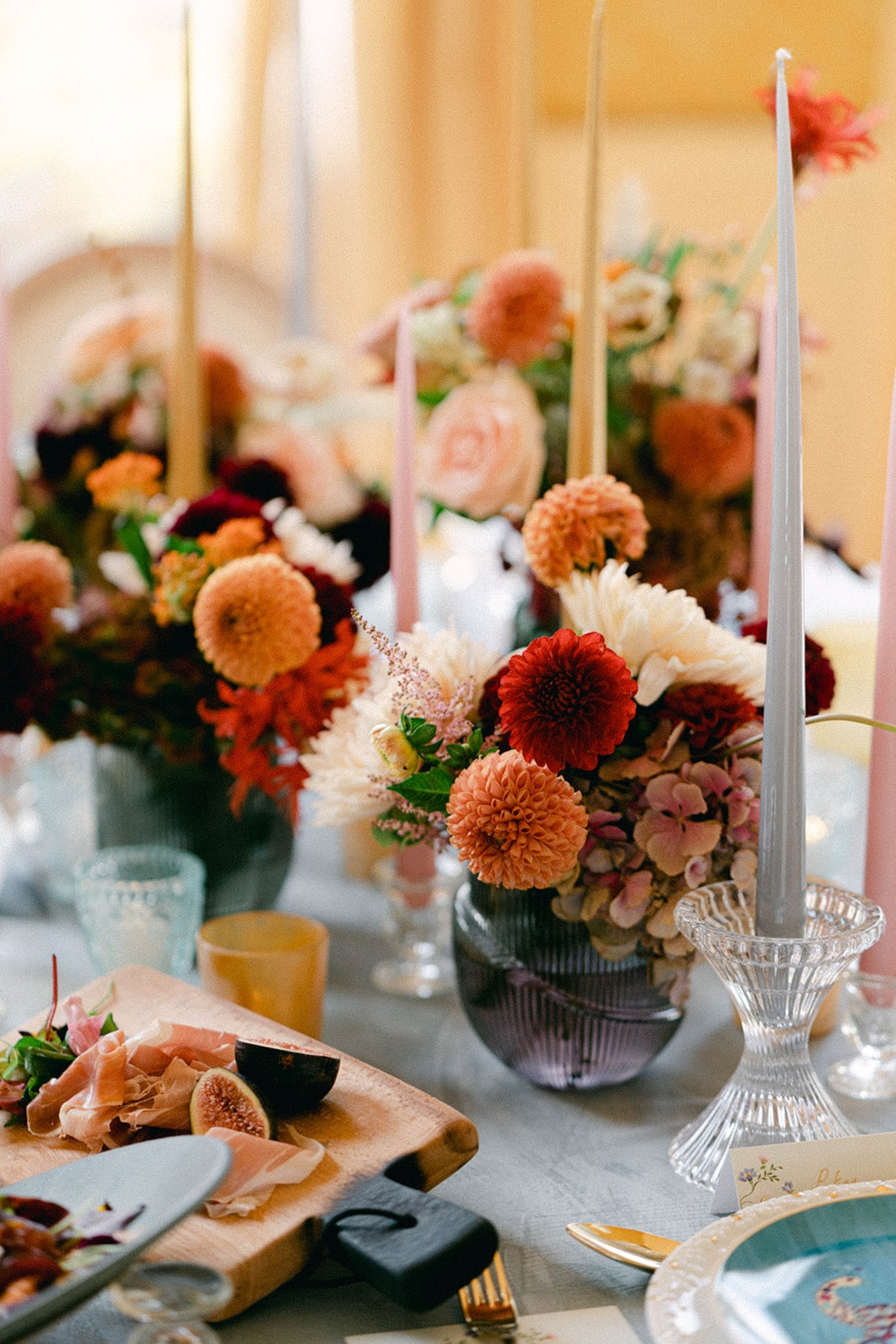 red and orange floral centrepieces