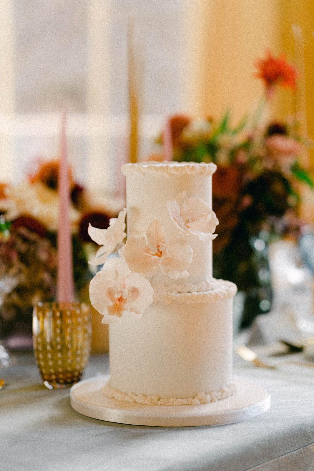 classic wedding cake with floral decoration